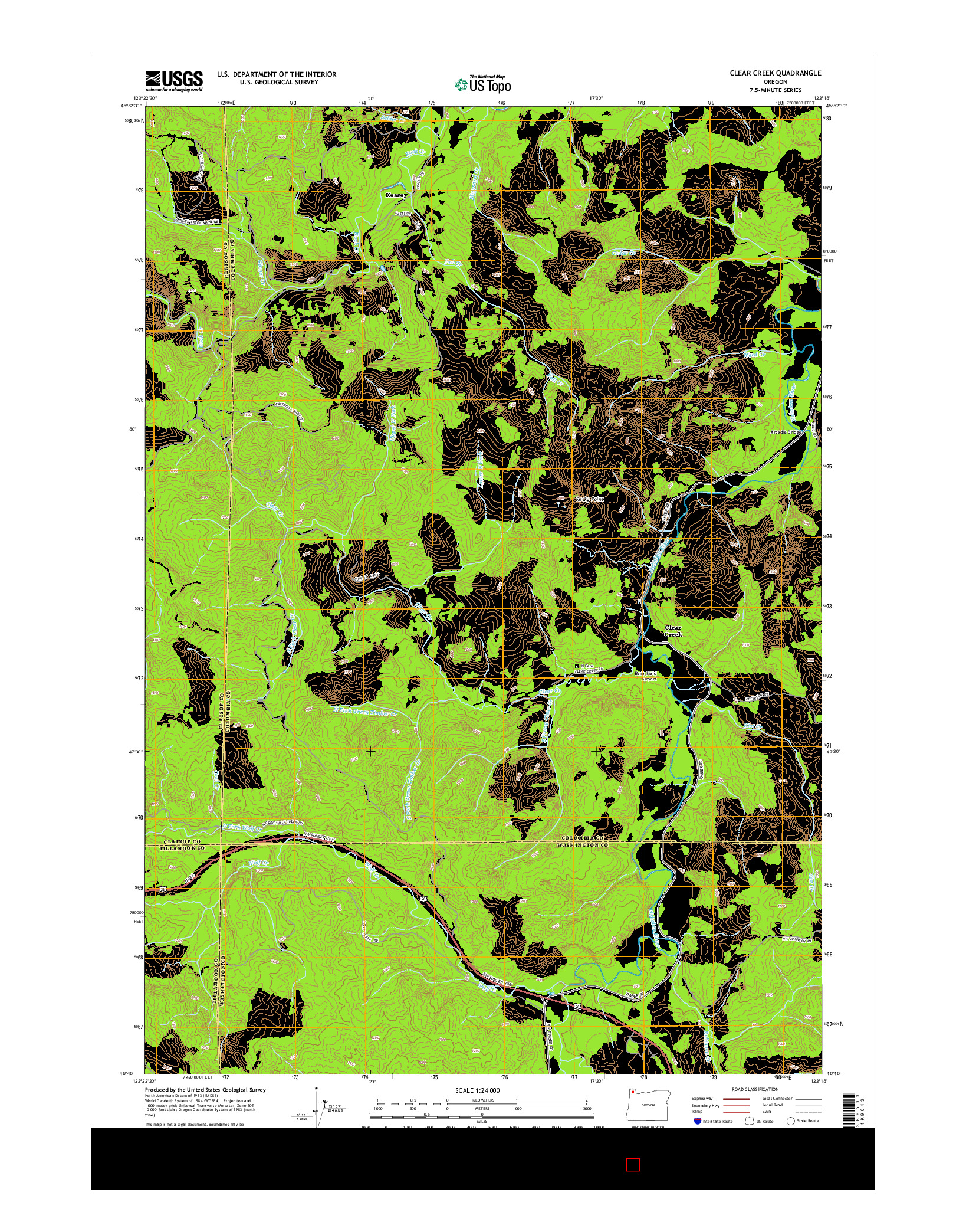USGS US TOPO 7.5-MINUTE MAP FOR CLEAR CREEK, OR 2014