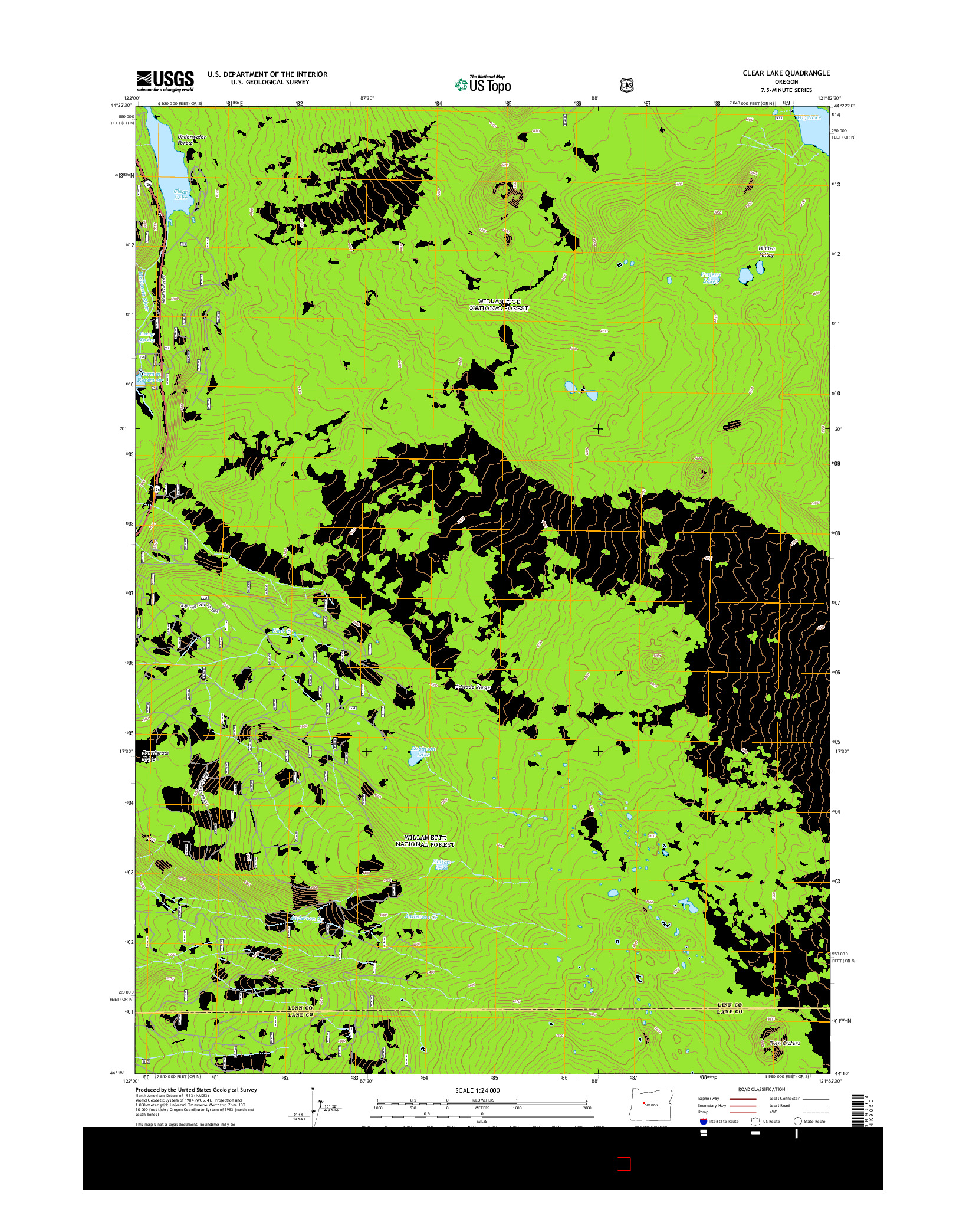 USGS US TOPO 7.5-MINUTE MAP FOR CLEAR LAKE, OR 2014