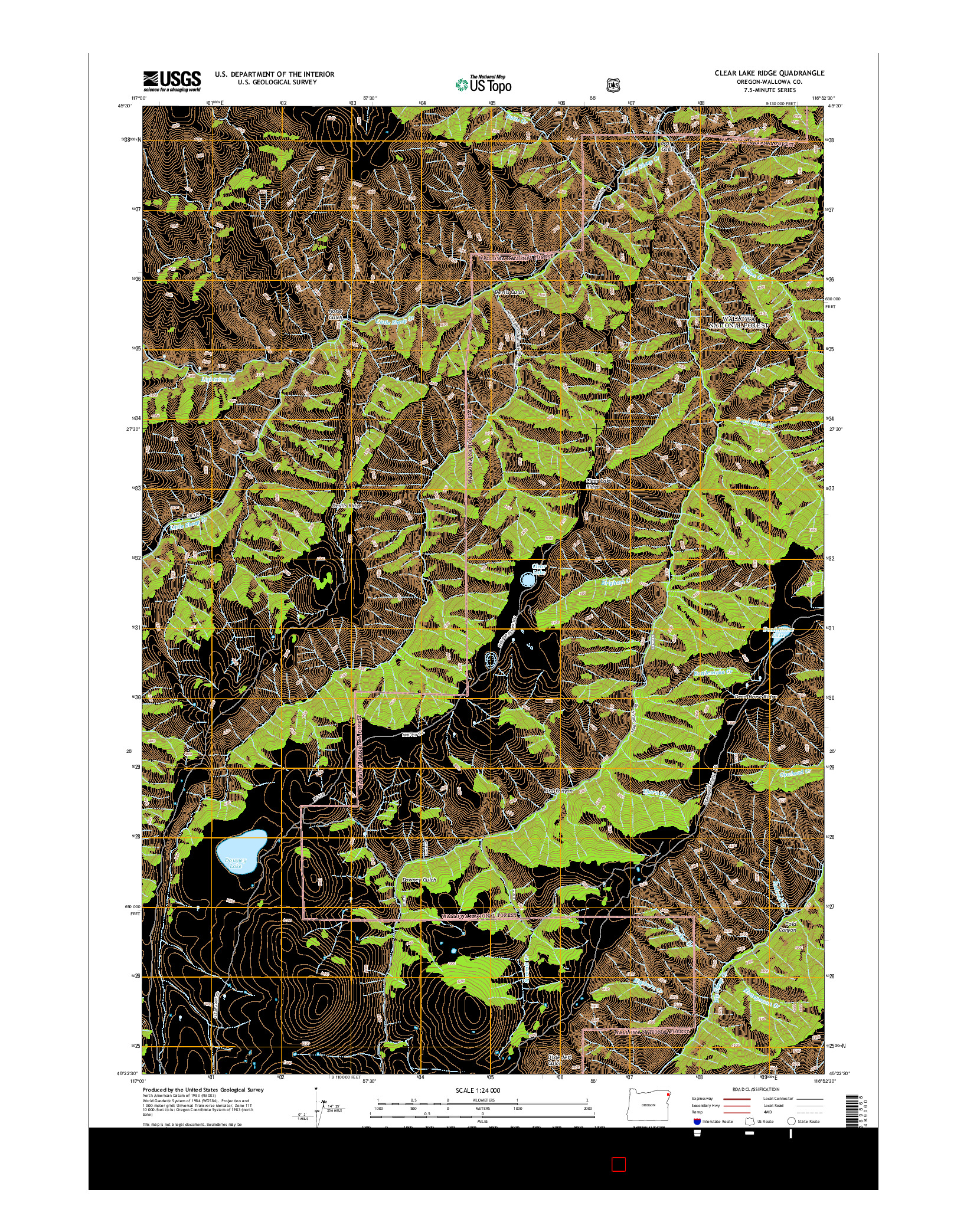 USGS US TOPO 7.5-MINUTE MAP FOR CLEAR LAKE RIDGE, OR 2014