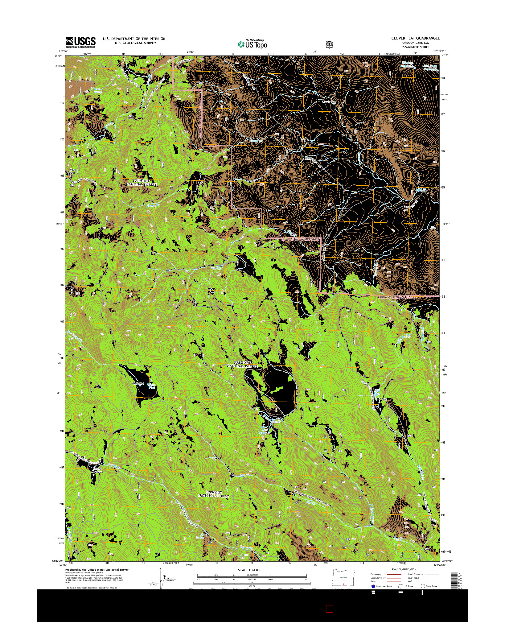 USGS US TOPO 7.5-MINUTE MAP FOR CLOVER FLAT, OR 2014