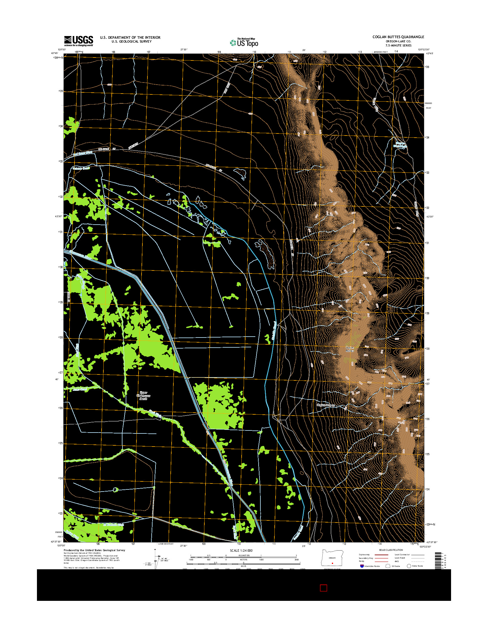 USGS US TOPO 7.5-MINUTE MAP FOR COGLAN BUTTES, OR 2014
