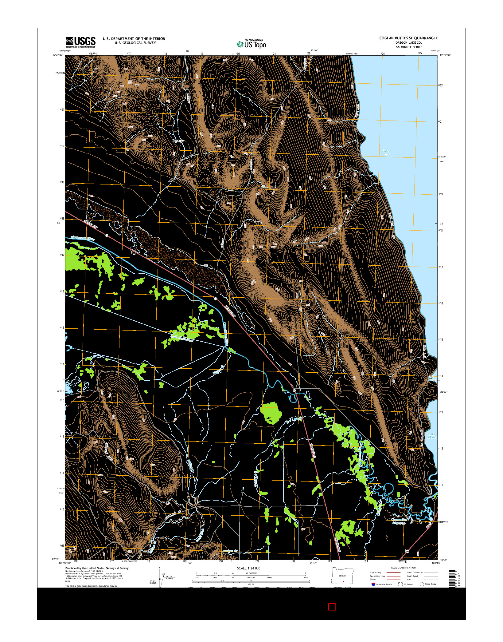 USGS US TOPO 7.5-MINUTE MAP FOR COGLAN BUTTES SE, OR 2014
