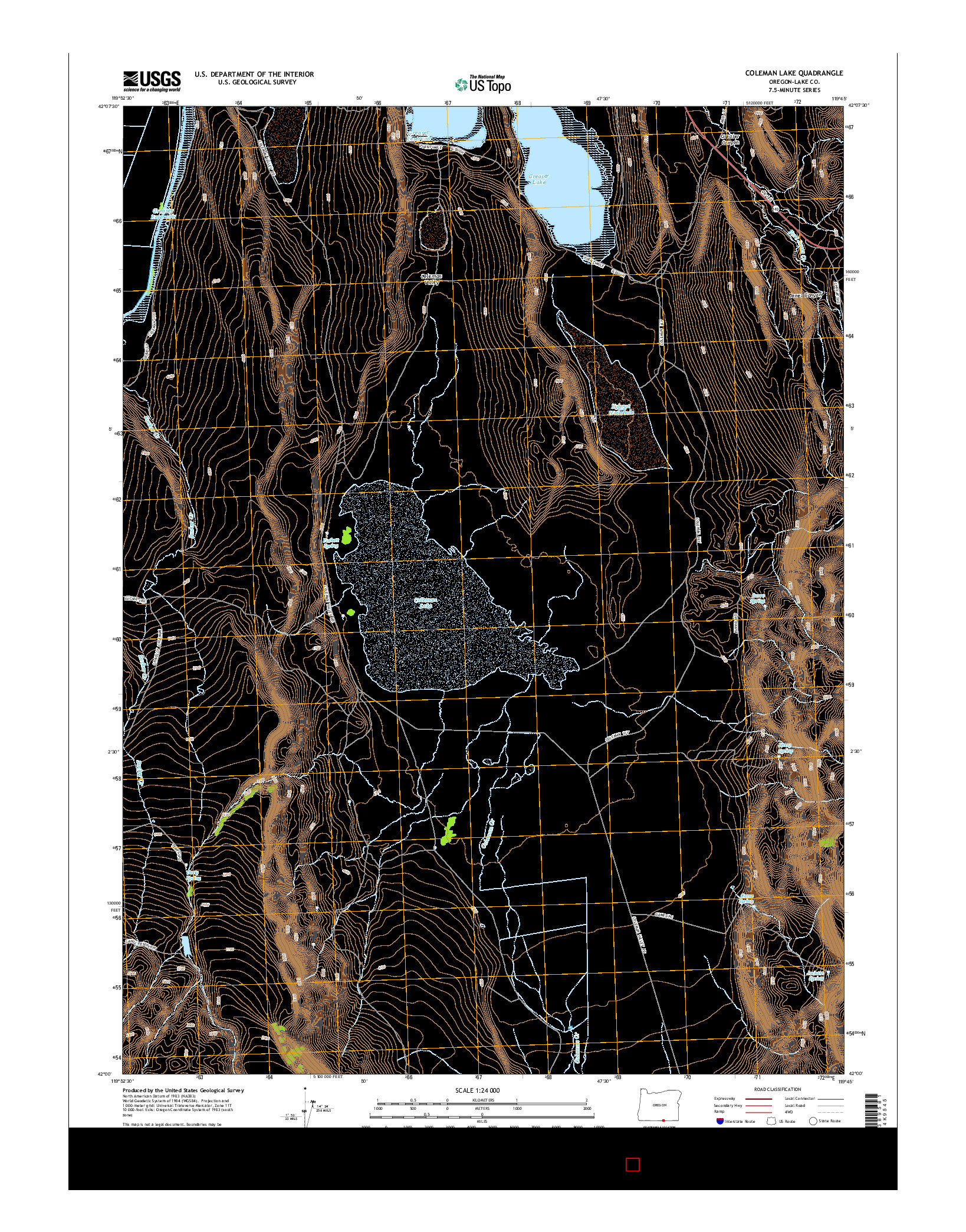 USGS US TOPO 7.5-MINUTE MAP FOR COLEMAN LAKE, OR 2014