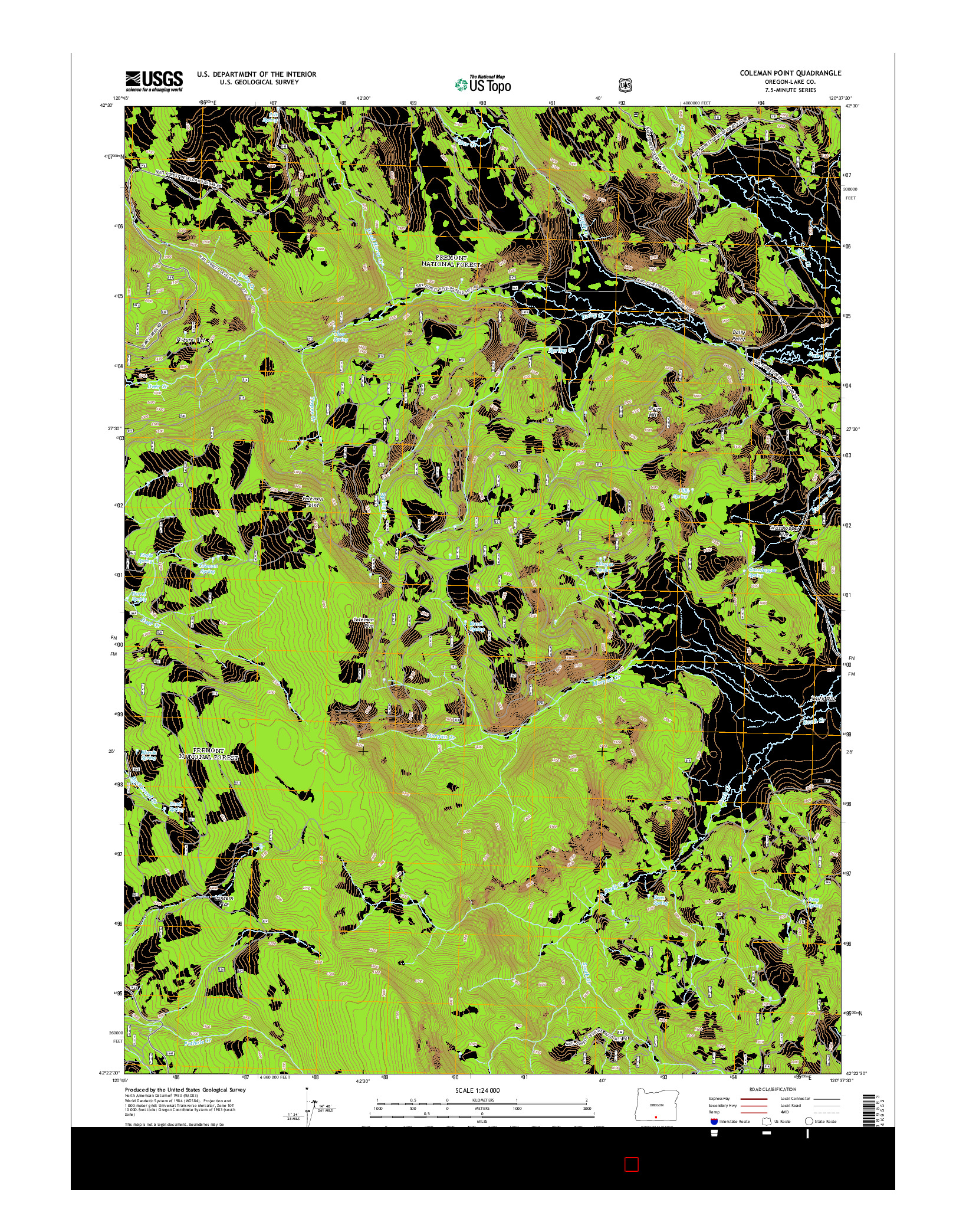 USGS US TOPO 7.5-MINUTE MAP FOR COLEMAN POINT, OR 2014