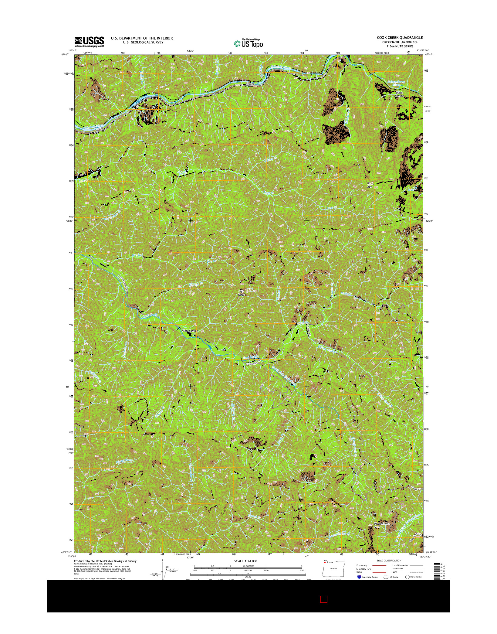 USGS US TOPO 7.5-MINUTE MAP FOR COOK CREEK, OR 2014