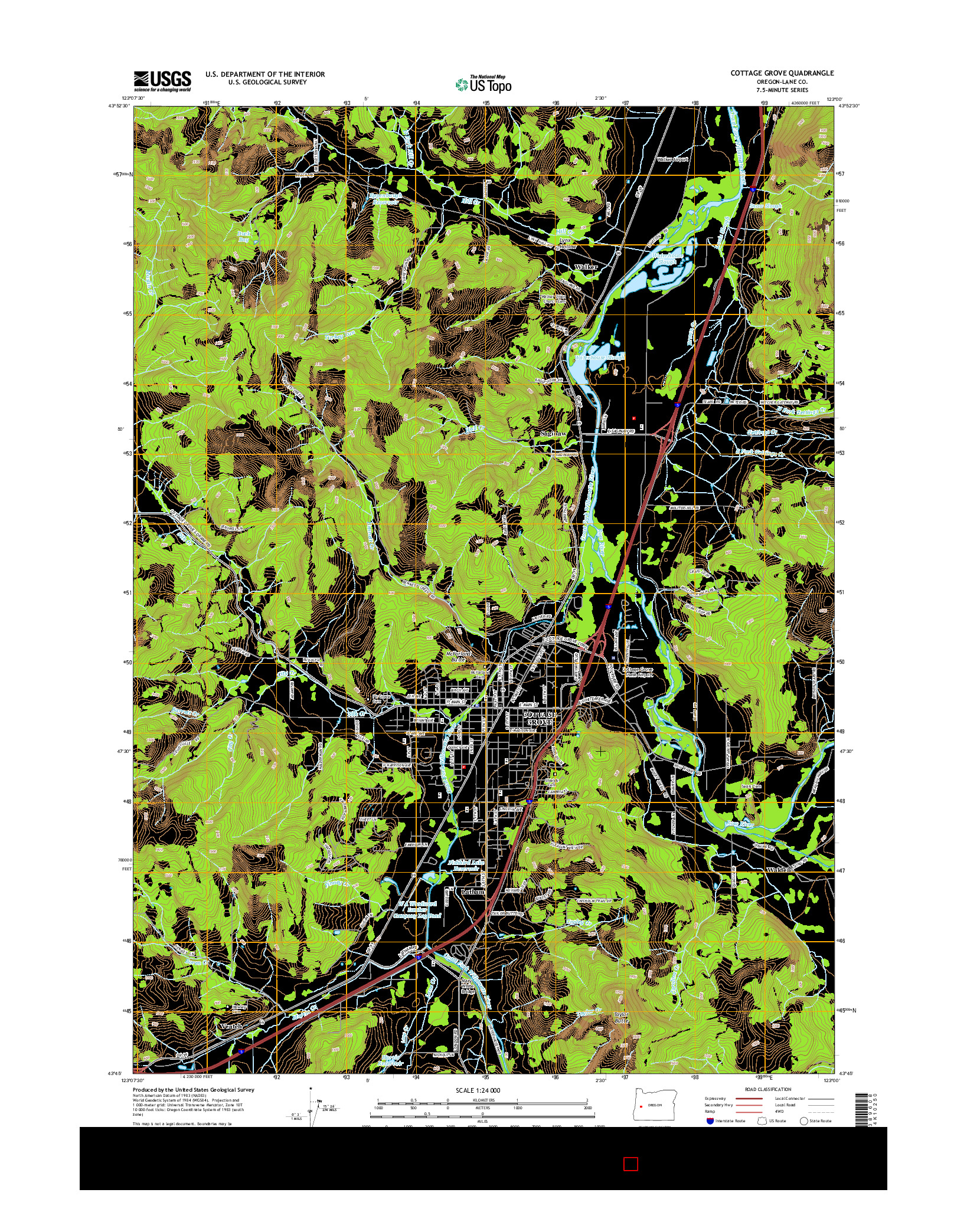 USGS US TOPO 7.5-MINUTE MAP FOR COTTAGE GROVE, OR 2014