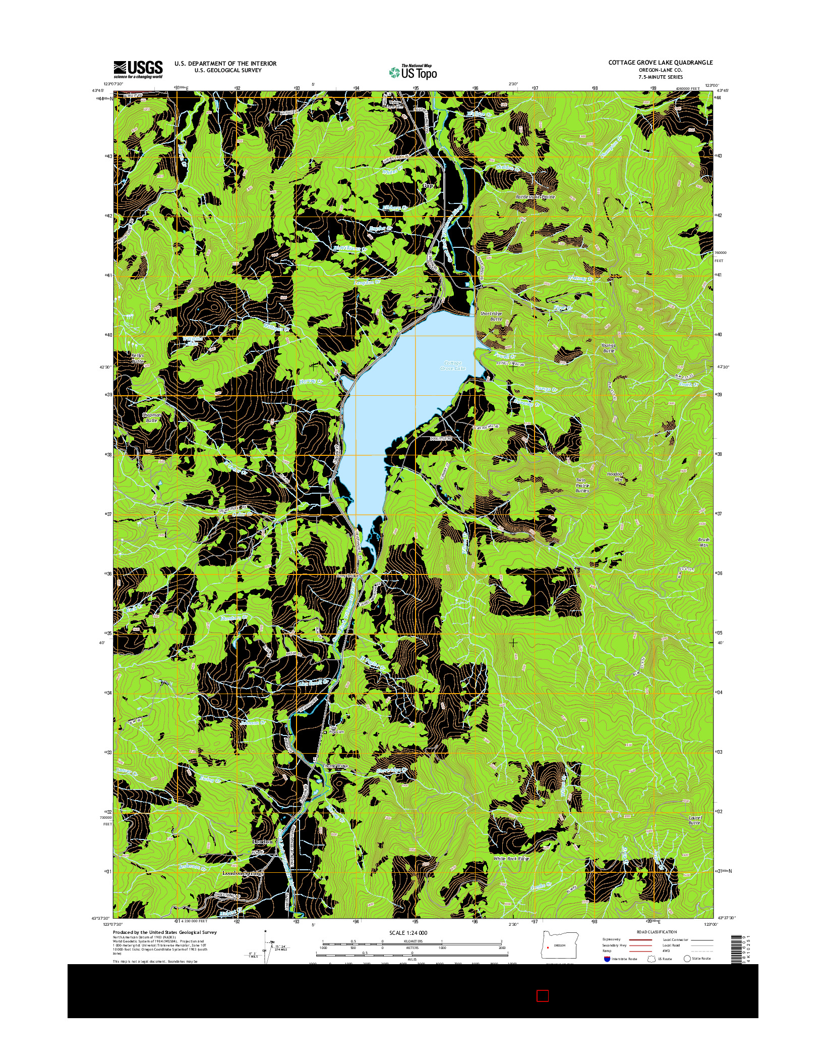 USGS US TOPO 7.5-MINUTE MAP FOR COTTAGE GROVE LAKE, OR 2014