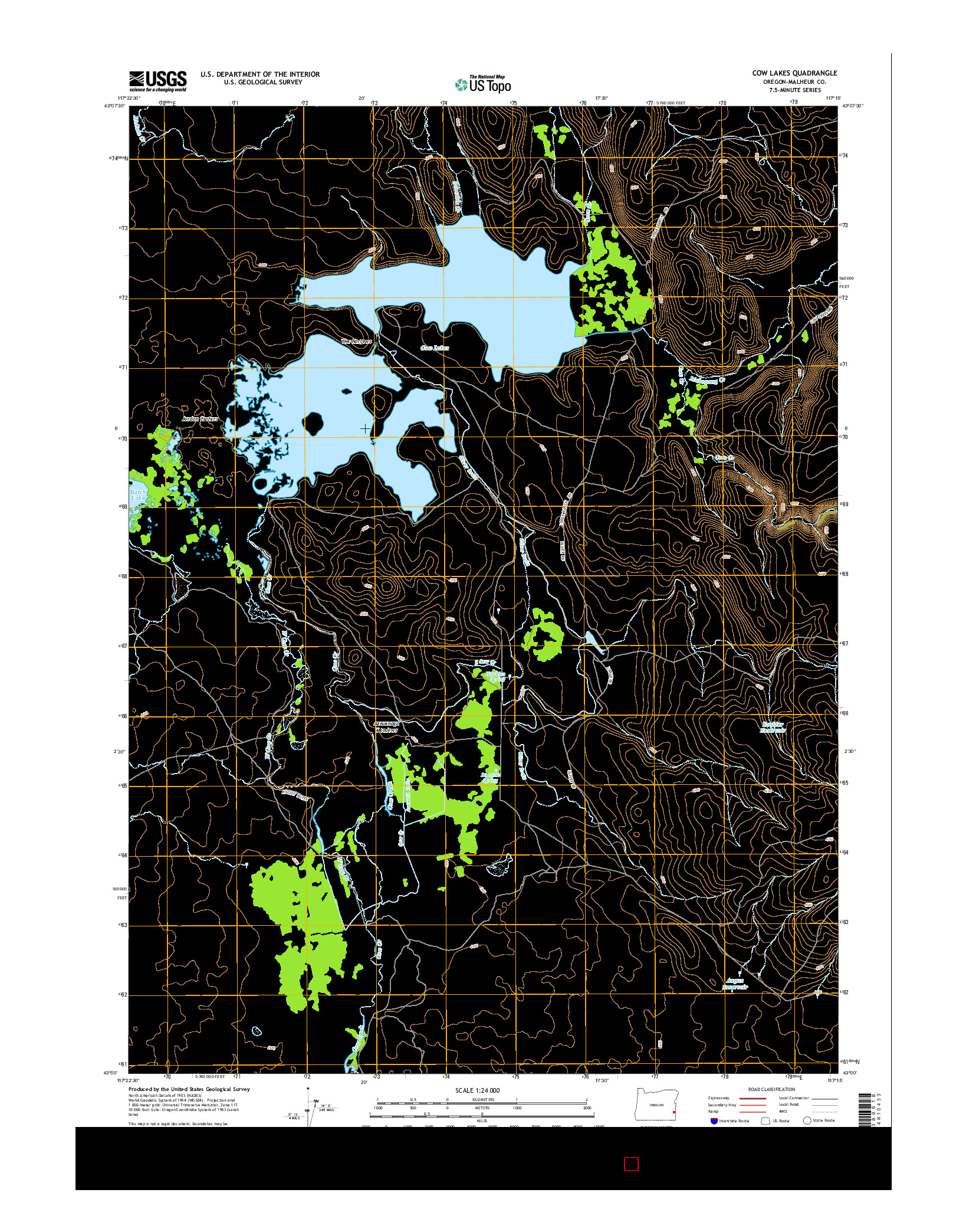 USGS US TOPO 7.5-MINUTE MAP FOR COW LAKES, OR 2014