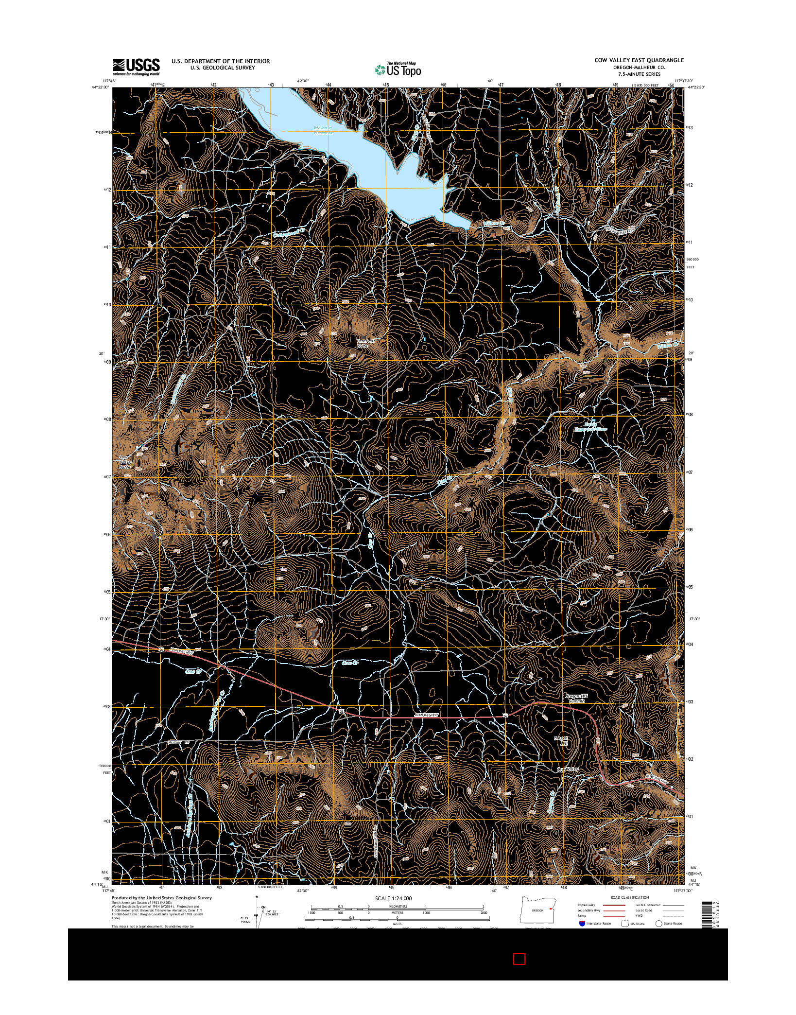 USGS US TOPO 7.5-MINUTE MAP FOR COW VALLEY EAST, OR 2014