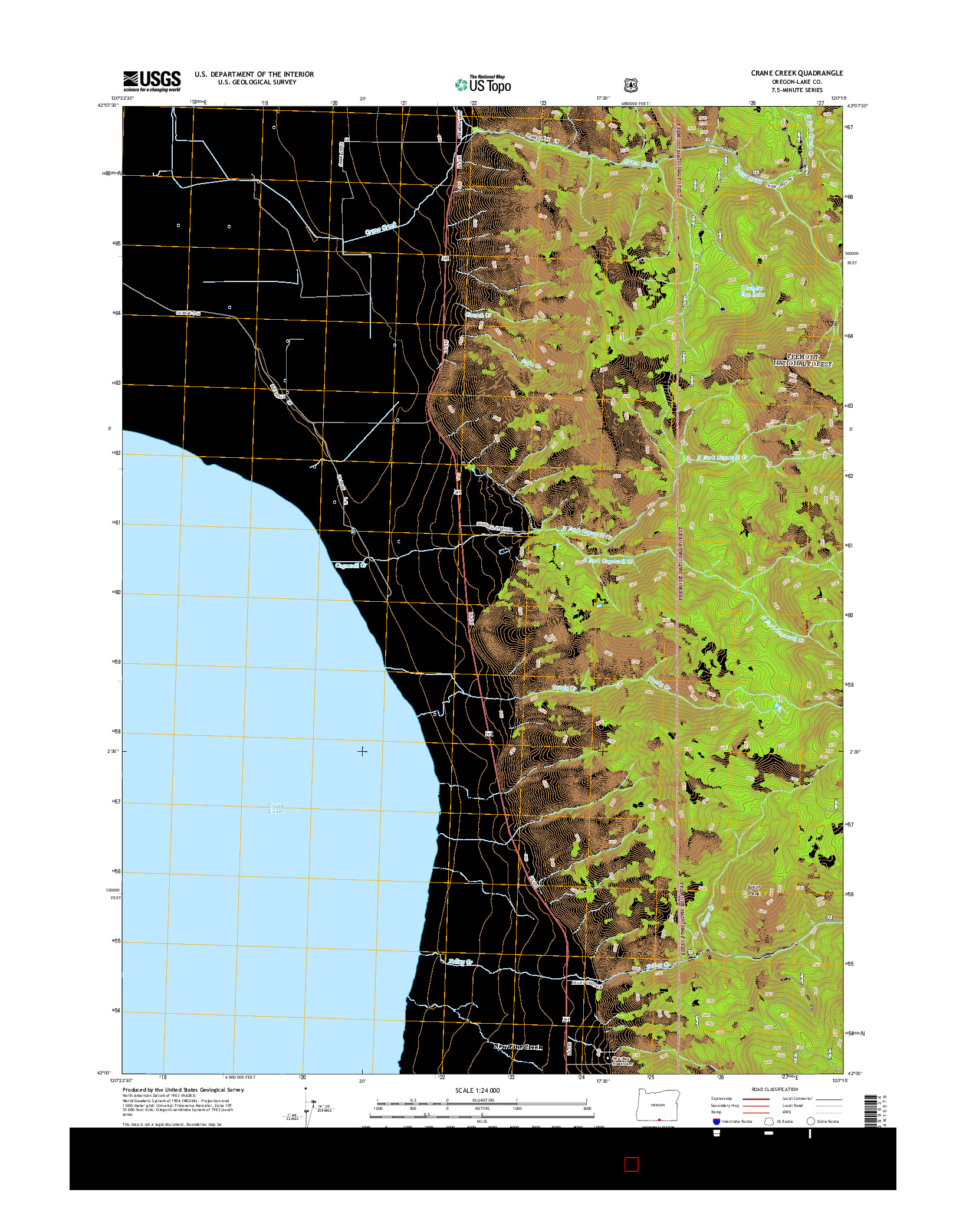 USGS US TOPO 7.5-MINUTE MAP FOR CRANE CREEK, OR 2014