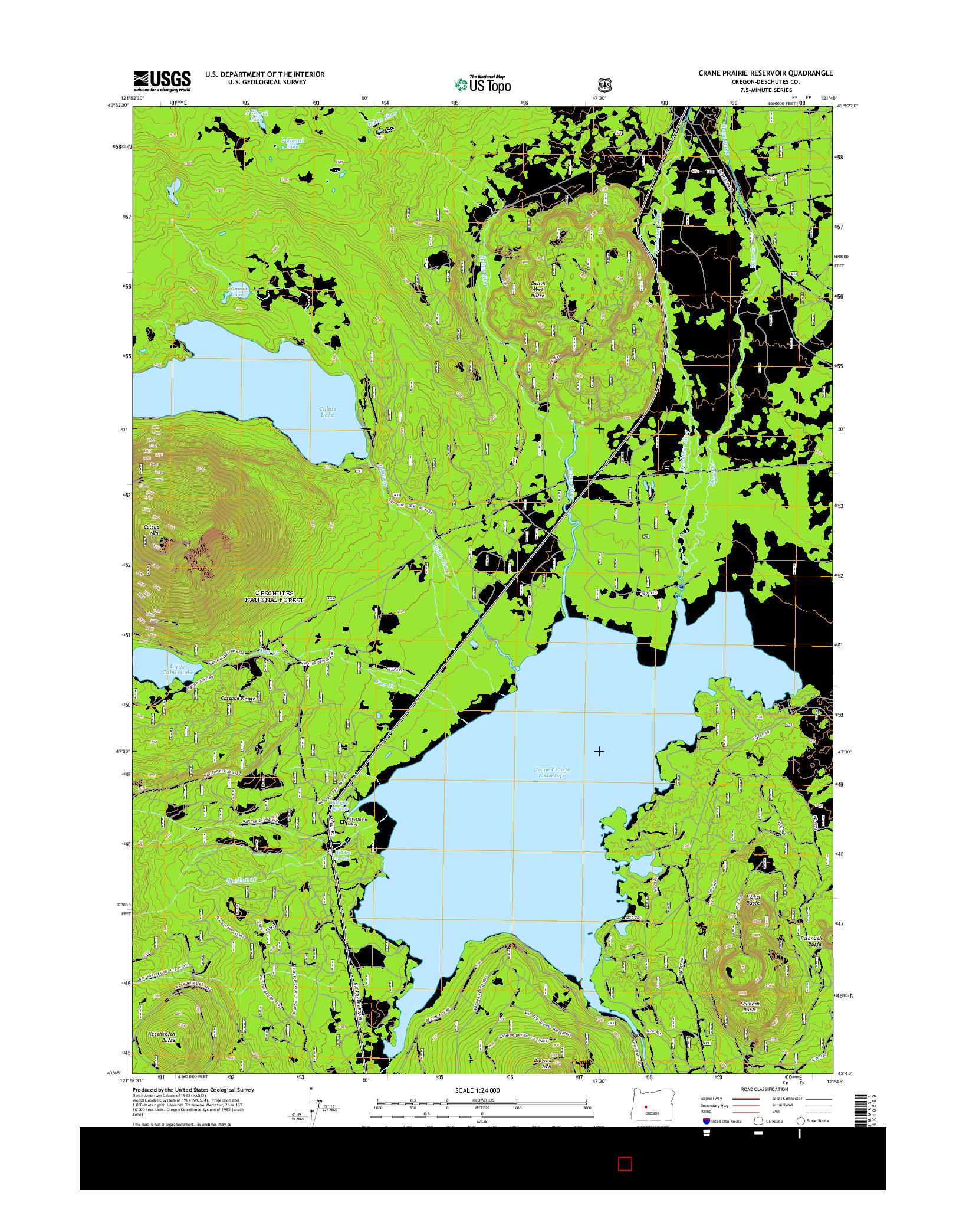 USGS US TOPO 7.5-MINUTE MAP FOR CRANE PRAIRIE RESERVOIR, OR 2014