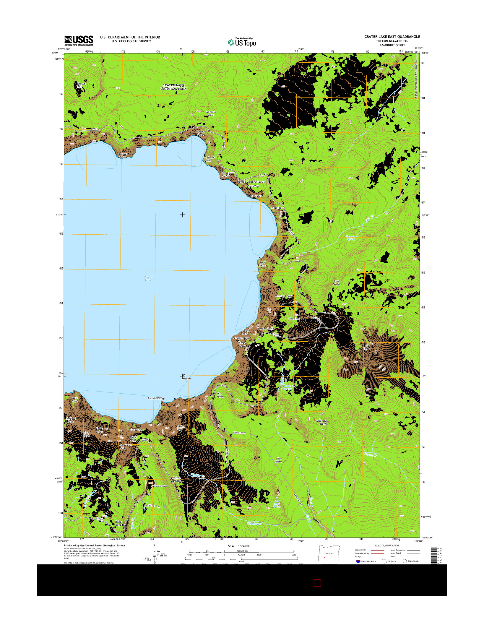 USGS US TOPO 7.5-MINUTE MAP FOR CRATER LAKE EAST, OR 2014