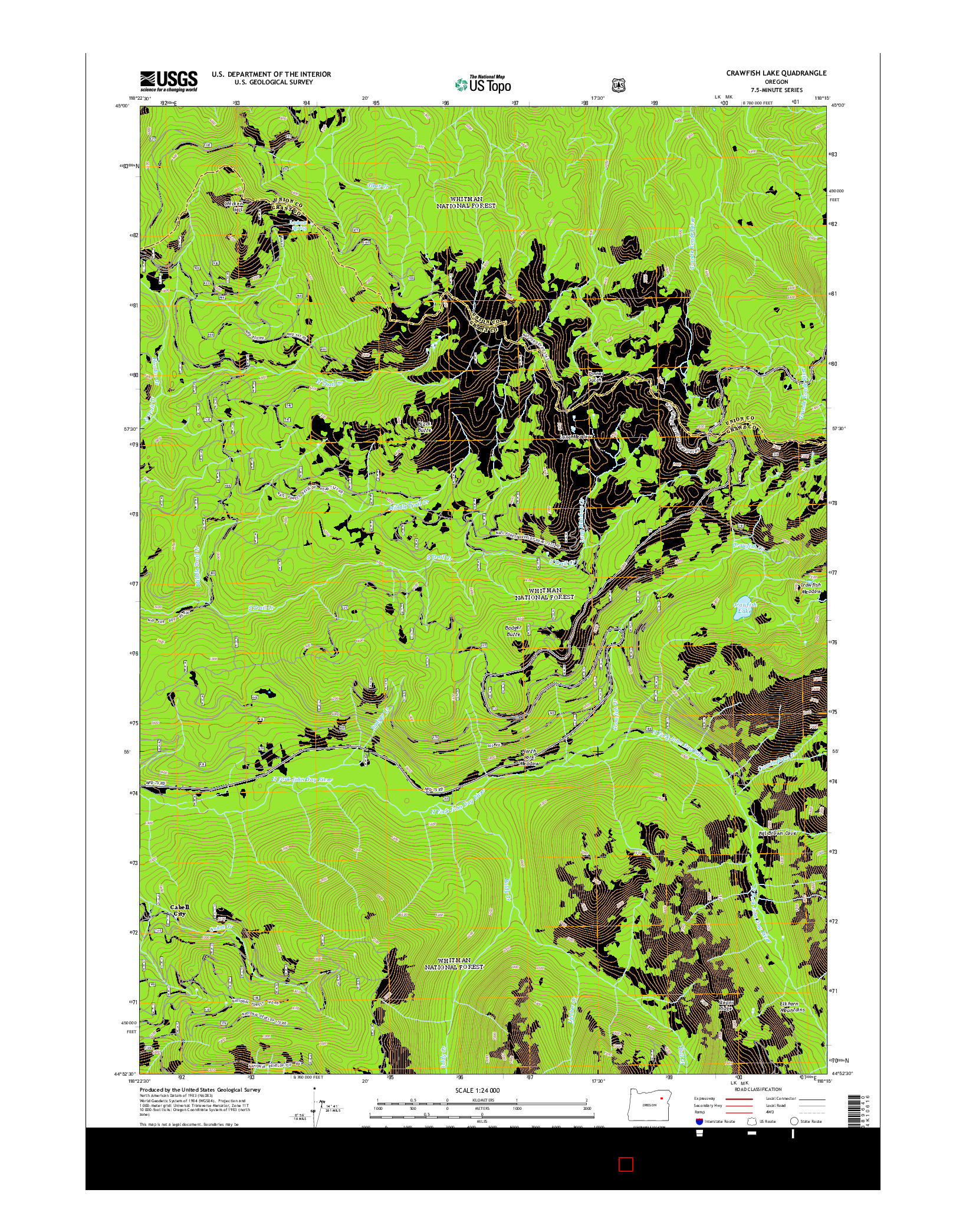 USGS US TOPO 7.5-MINUTE MAP FOR CRAWFISH LAKE, OR 2014