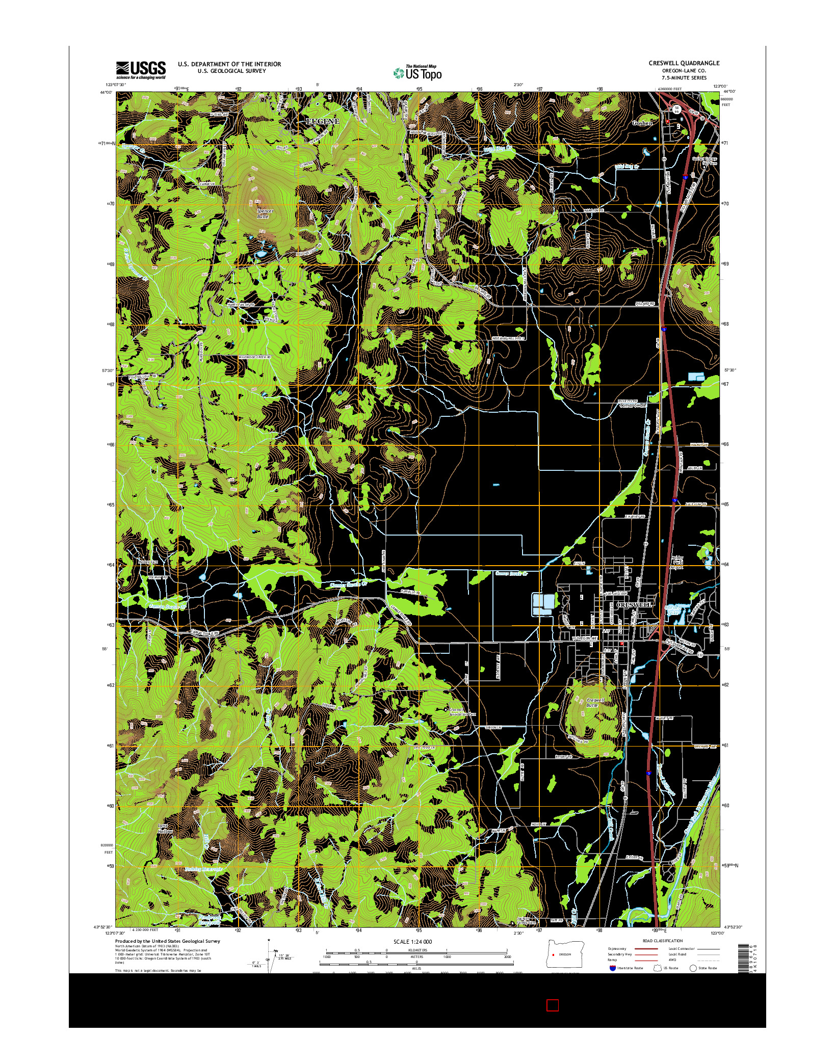 USGS US TOPO 7.5-MINUTE MAP FOR CRESWELL, OR 2014
