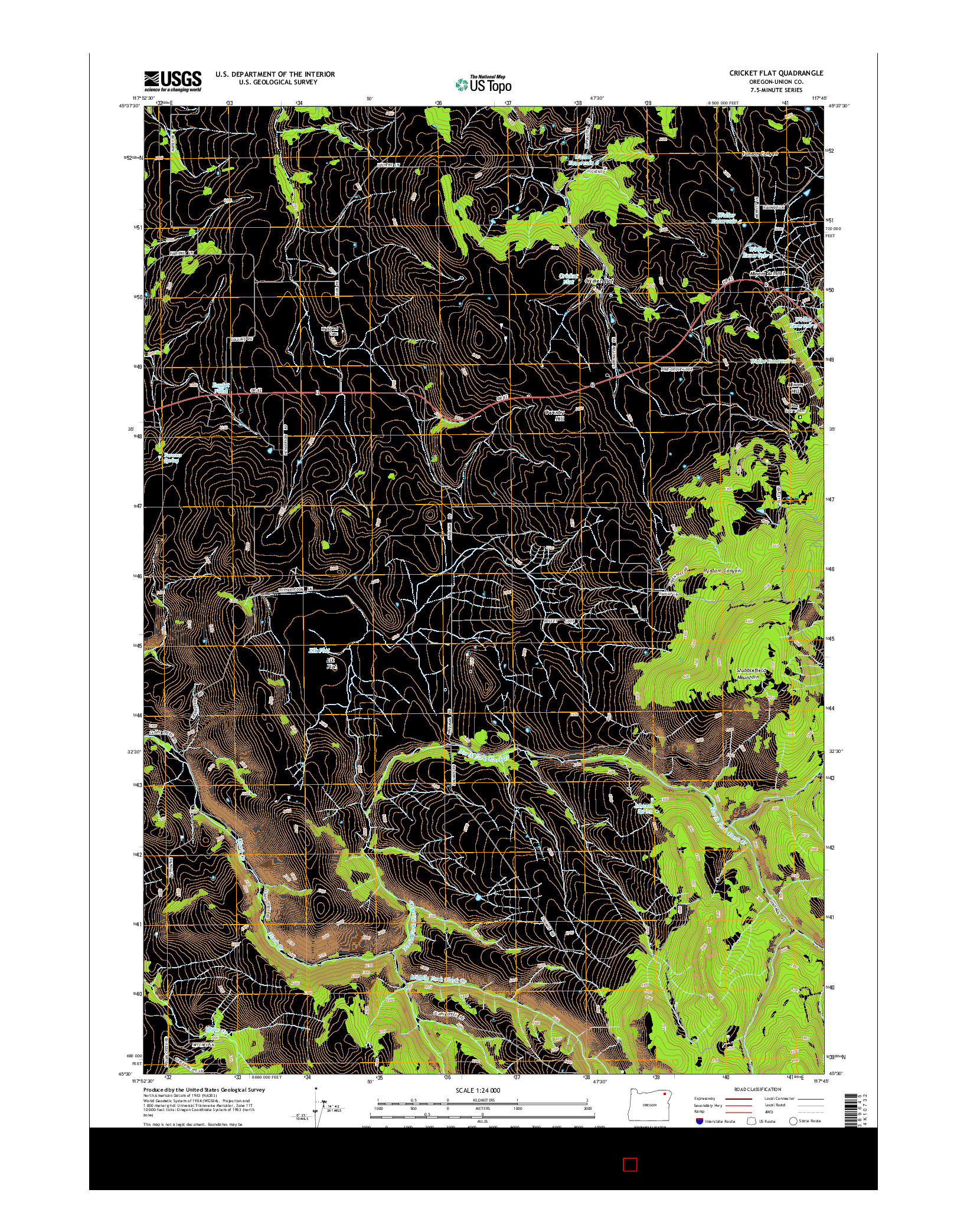 USGS US TOPO 7.5-MINUTE MAP FOR CRICKET FLAT, OR 2014