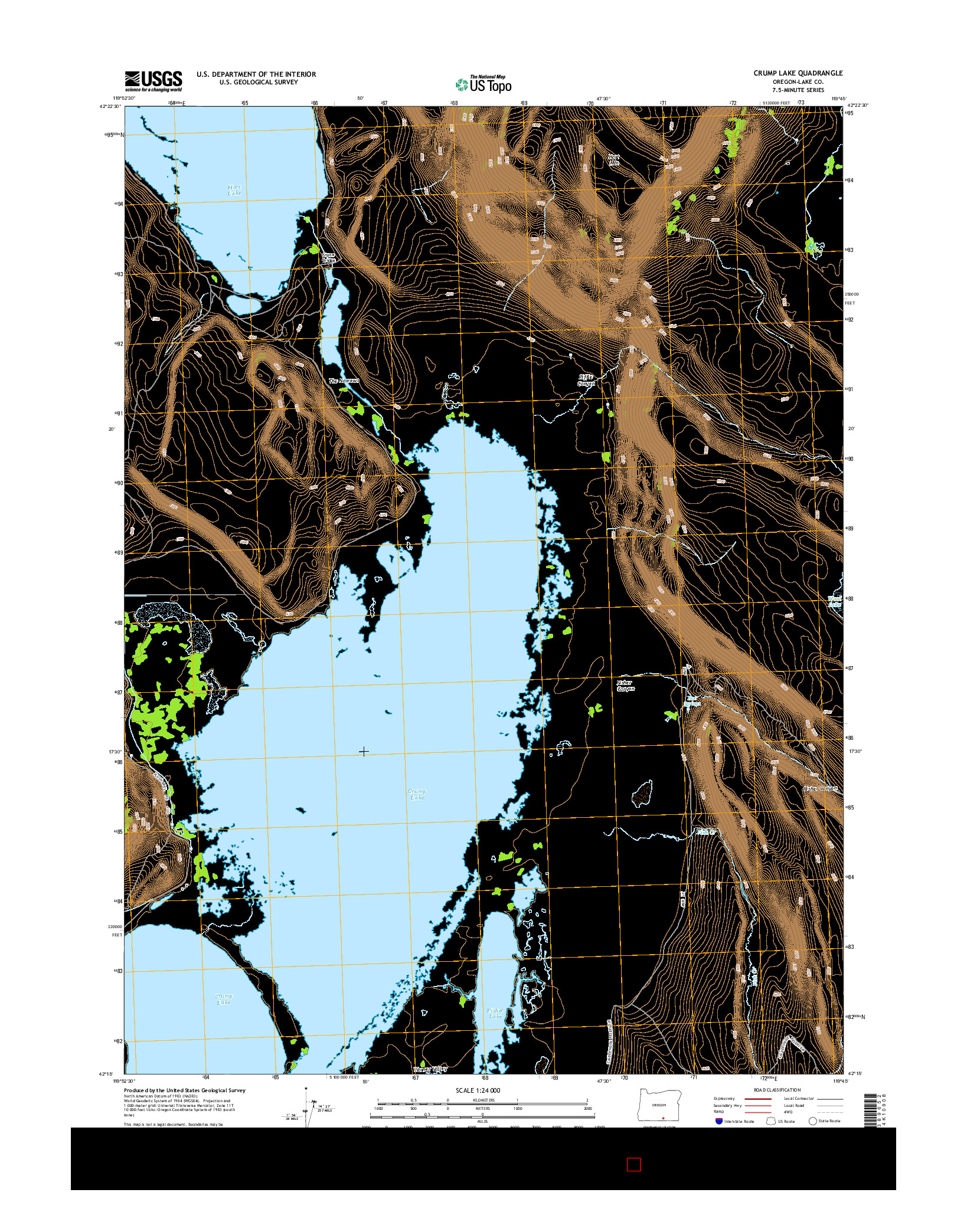 USGS US TOPO 7.5-MINUTE MAP FOR CRUMP LAKE, OR 2014