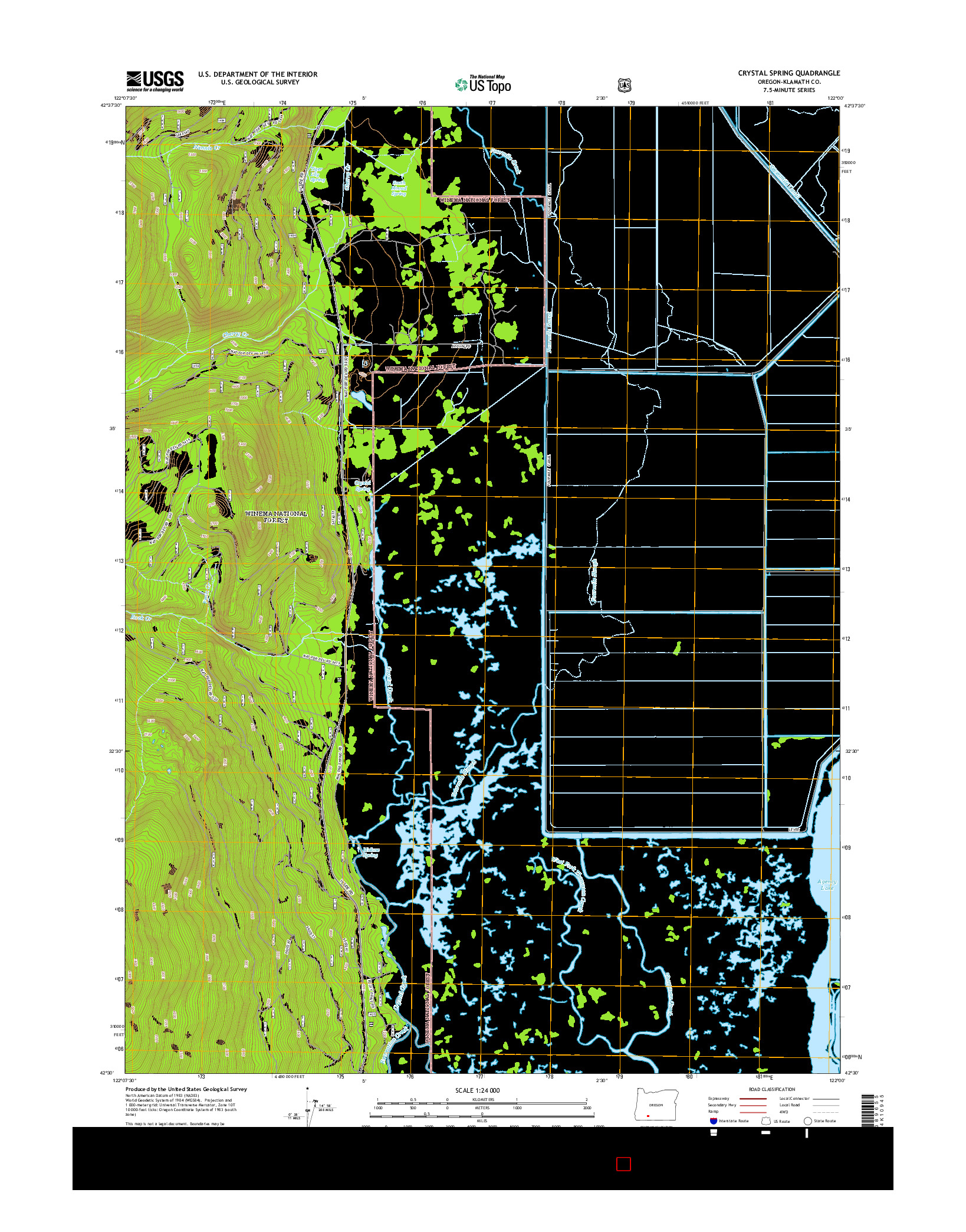 USGS US TOPO 7.5-MINUTE MAP FOR CRYSTAL SPRING, OR 2014