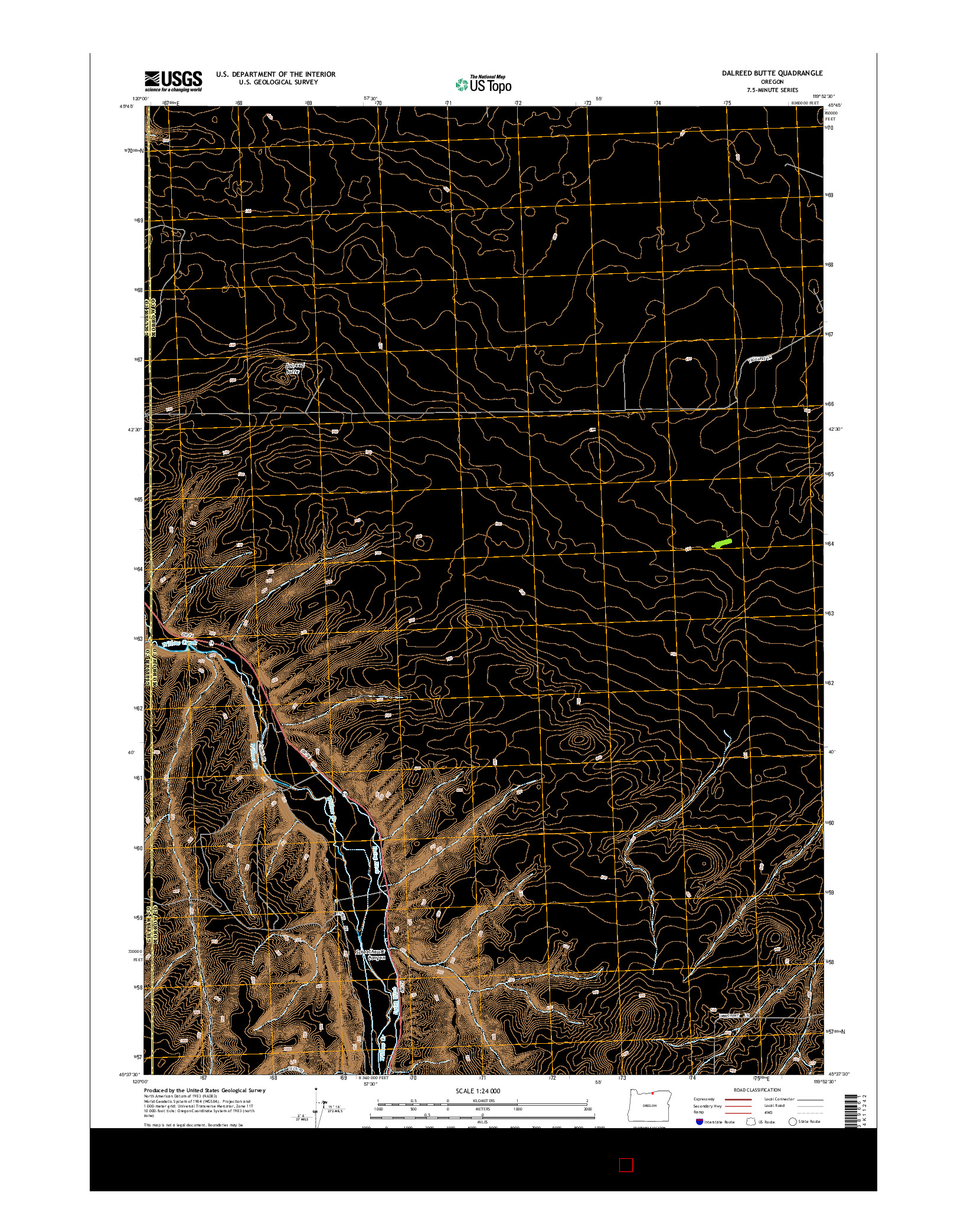 USGS US TOPO 7.5-MINUTE MAP FOR DALREED BUTTE, OR 2014