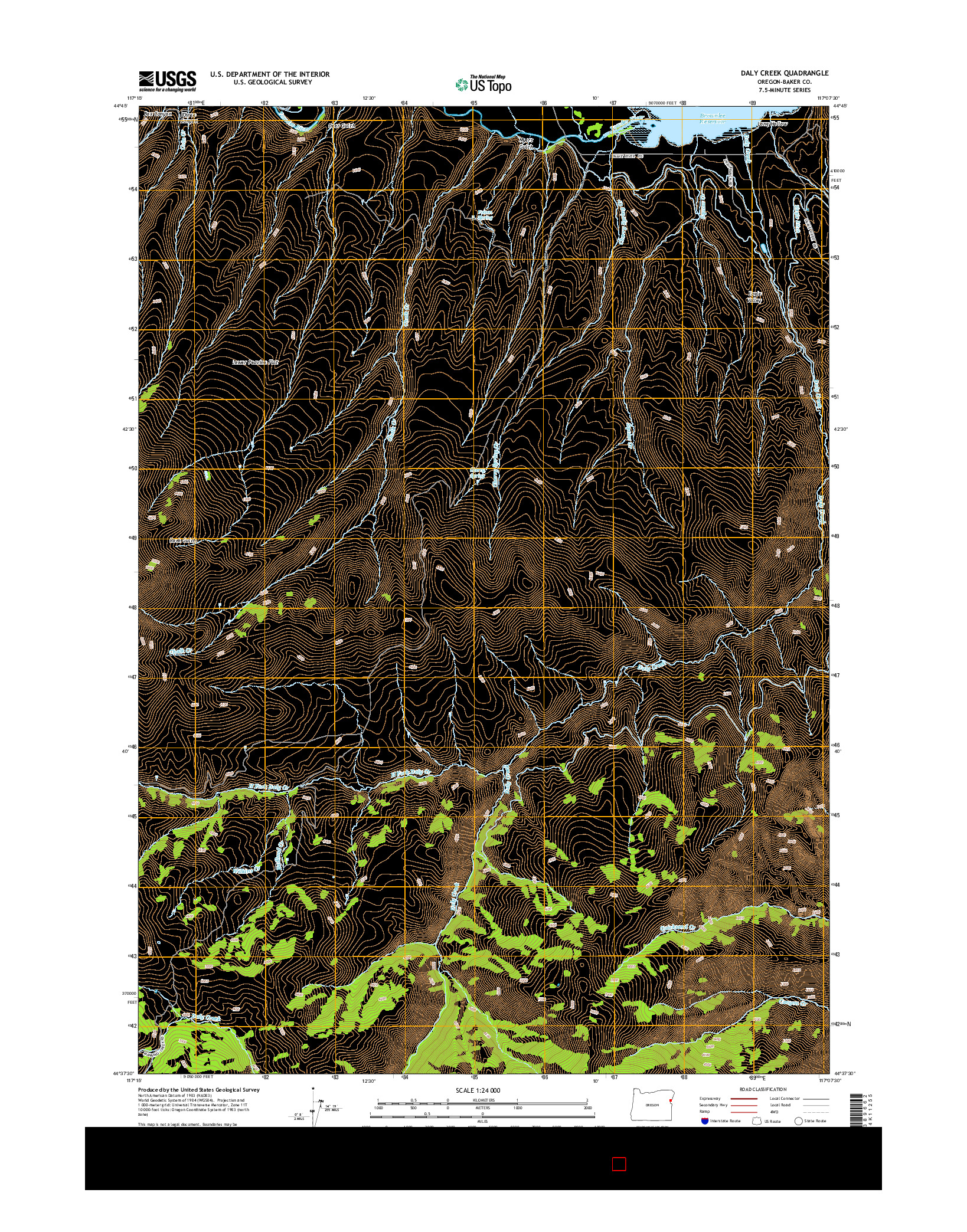 USGS US TOPO 7.5-MINUTE MAP FOR DALY CREEK, OR 2014