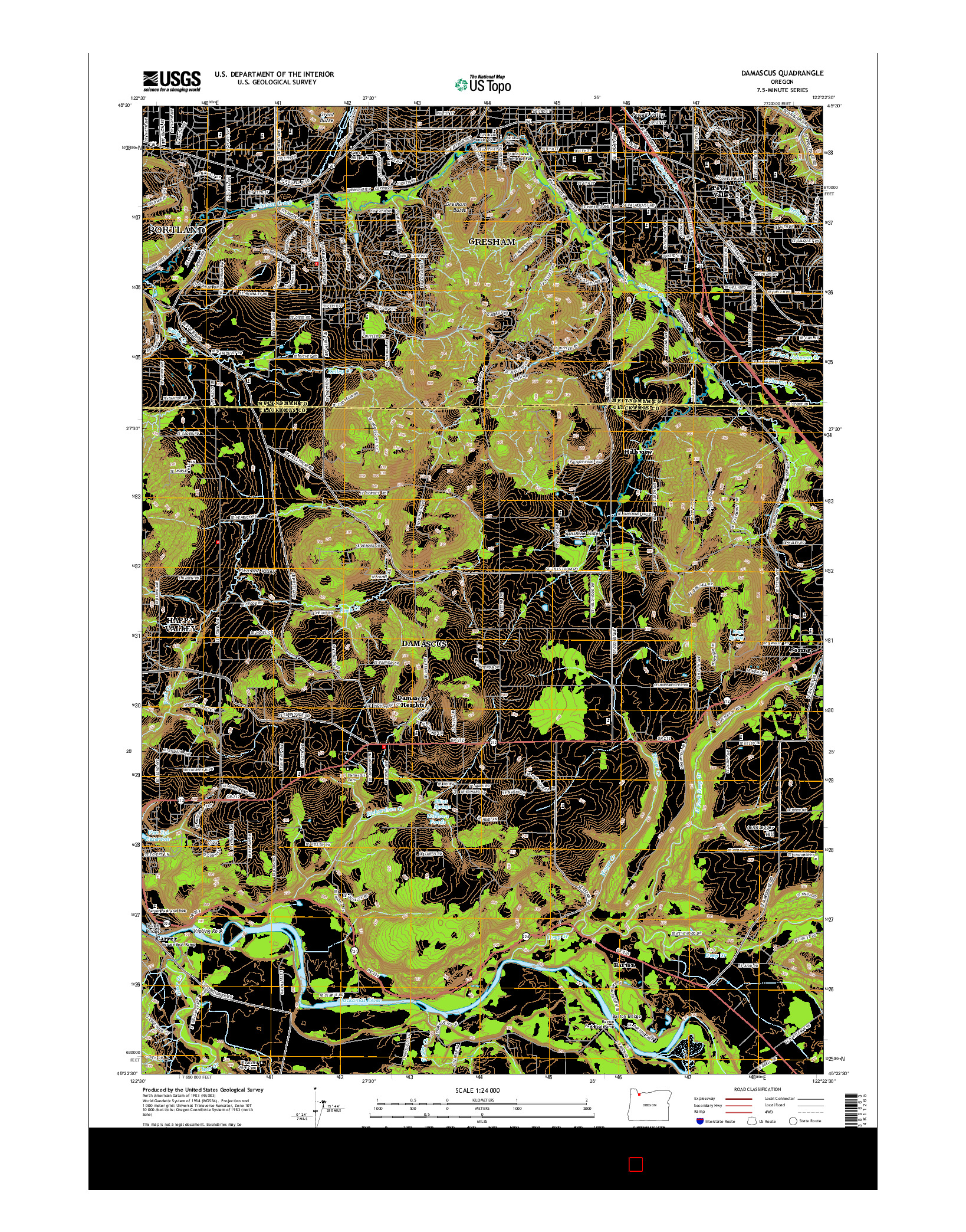 USGS US TOPO 7.5-MINUTE MAP FOR DAMASCUS, OR 2014