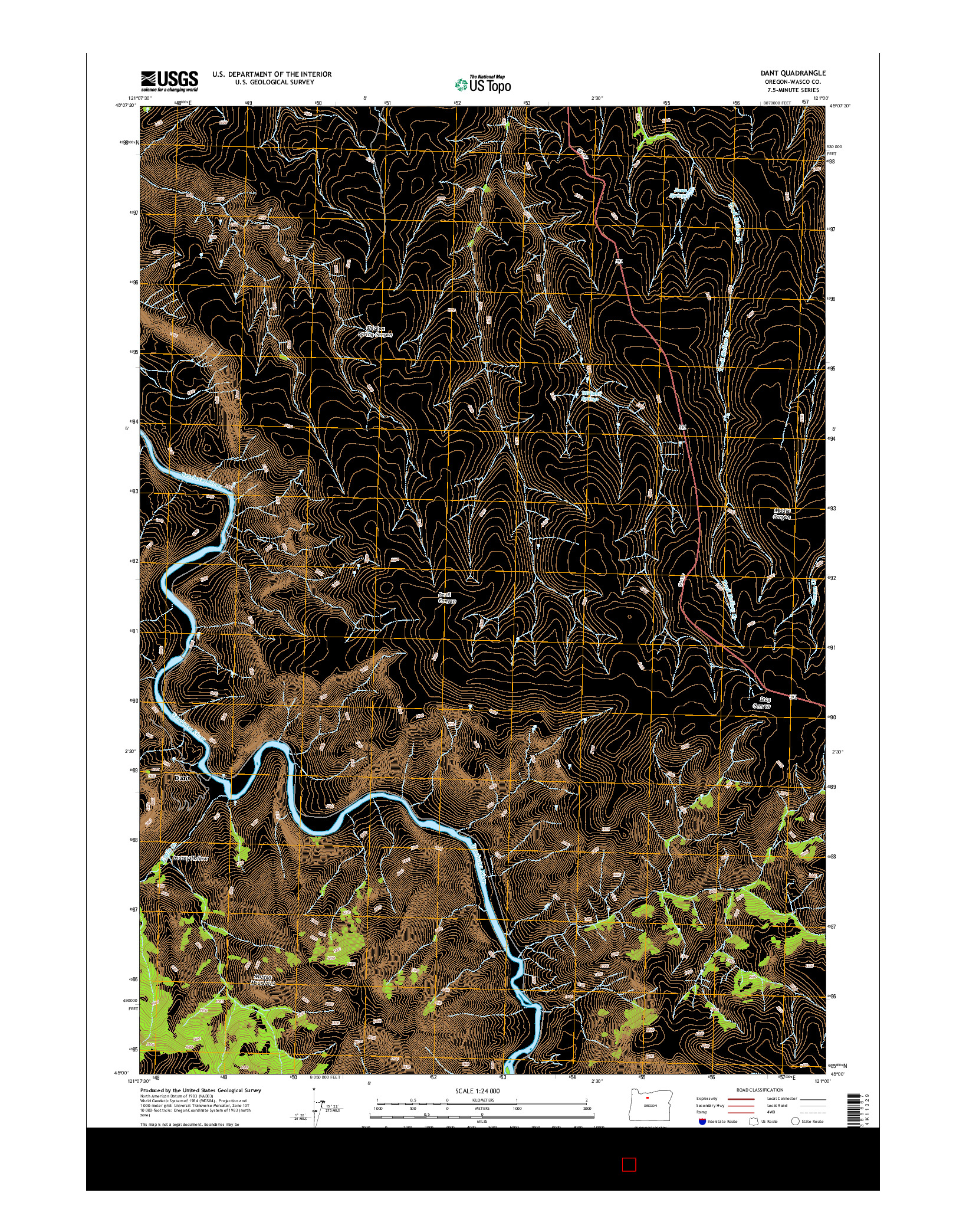 USGS US TOPO 7.5-MINUTE MAP FOR DANT, OR 2014
