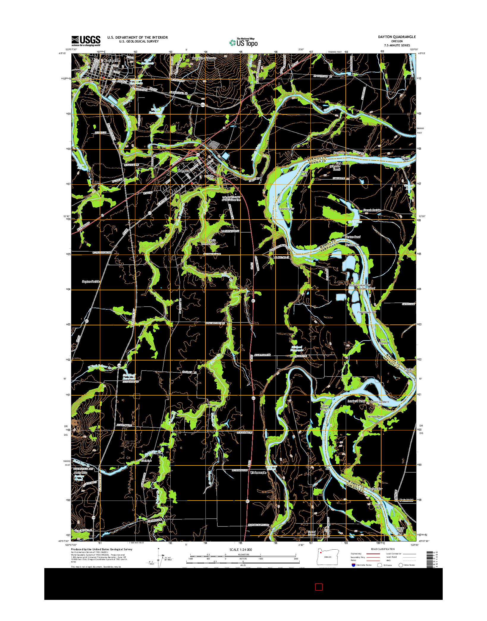 USGS US TOPO 7.5-MINUTE MAP FOR DAYTON, OR 2014