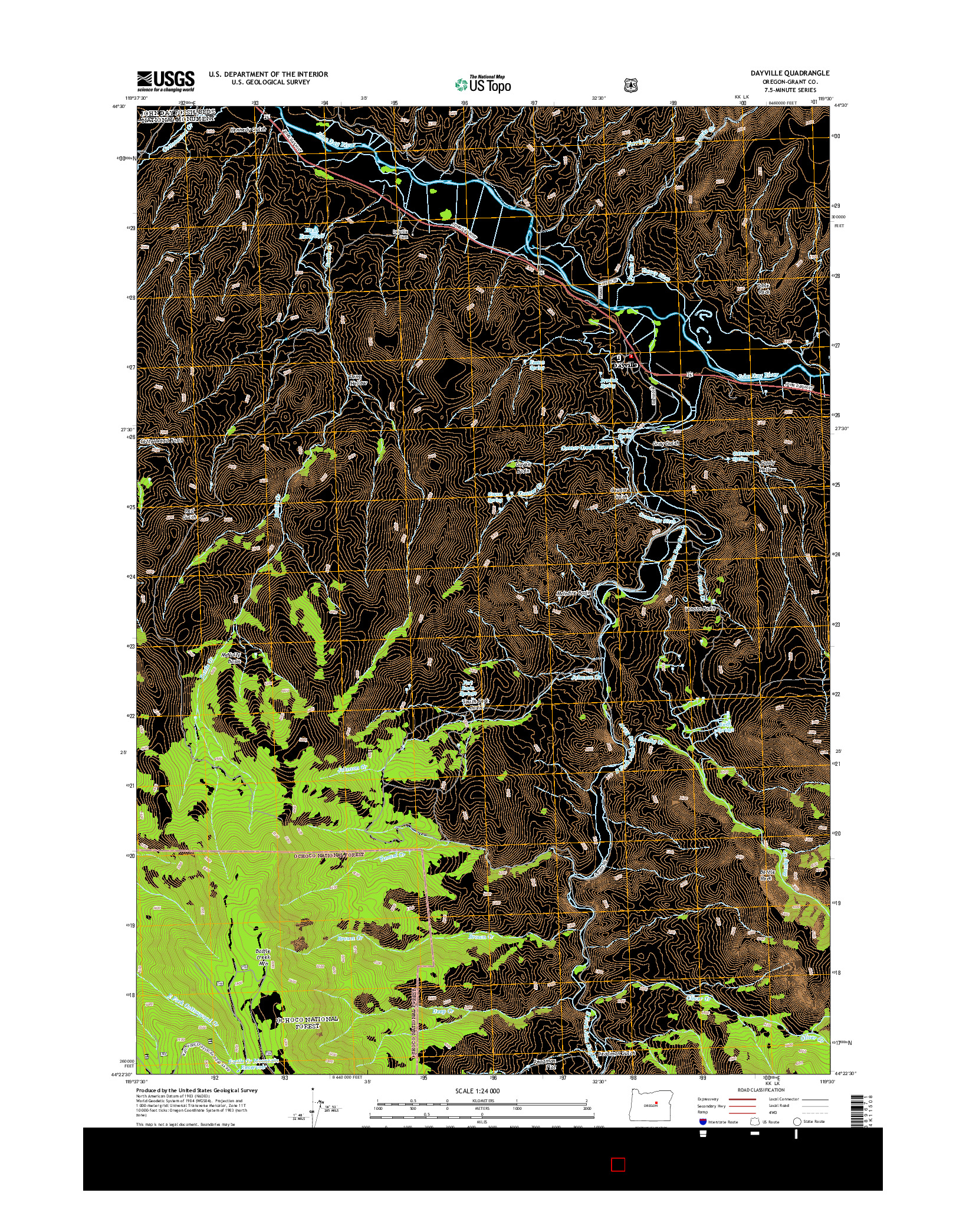 USGS US TOPO 7.5-MINUTE MAP FOR DAYVILLE, OR 2014