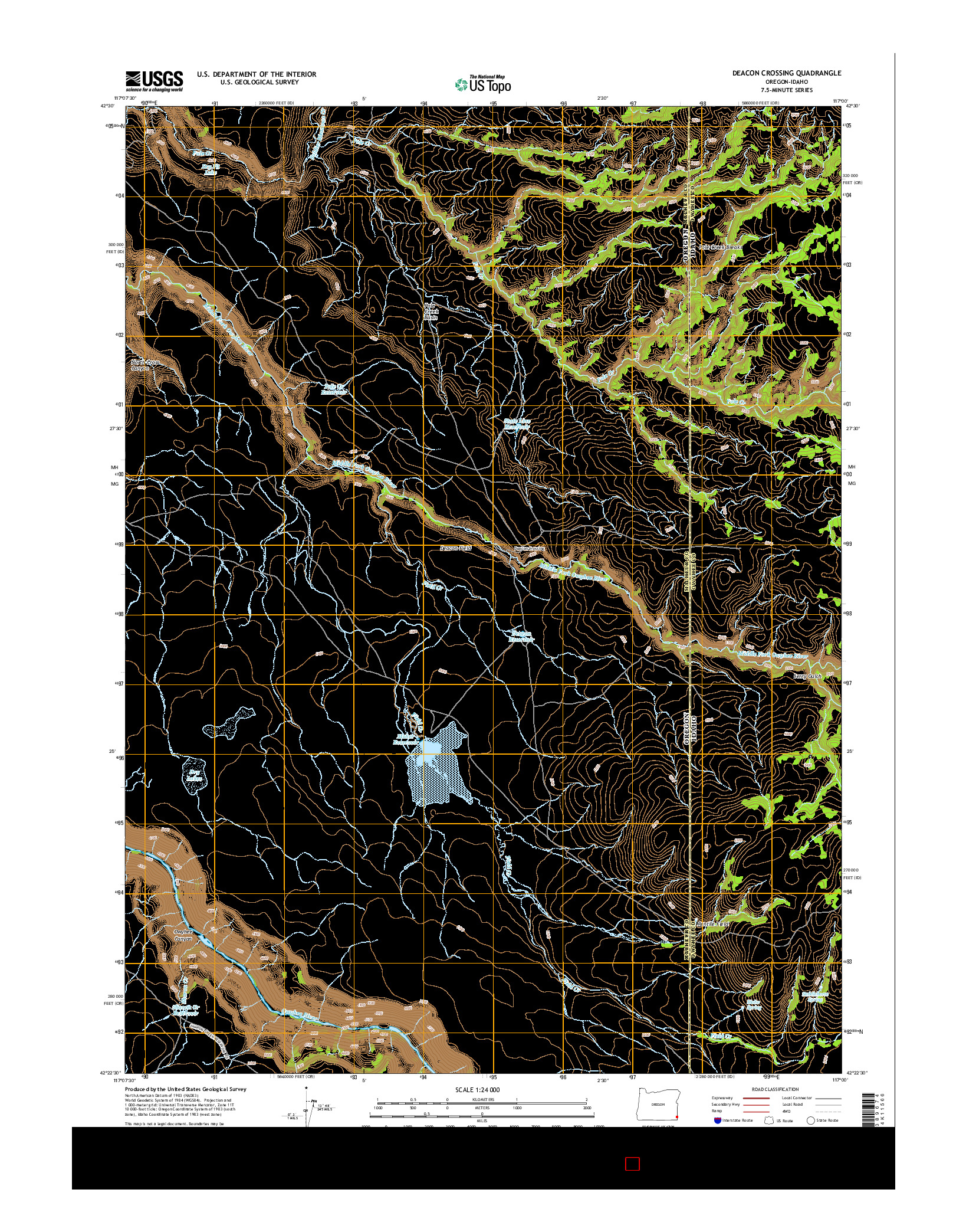 USGS US TOPO 7.5-MINUTE MAP FOR DEACON CROSSING, OR-ID 2014