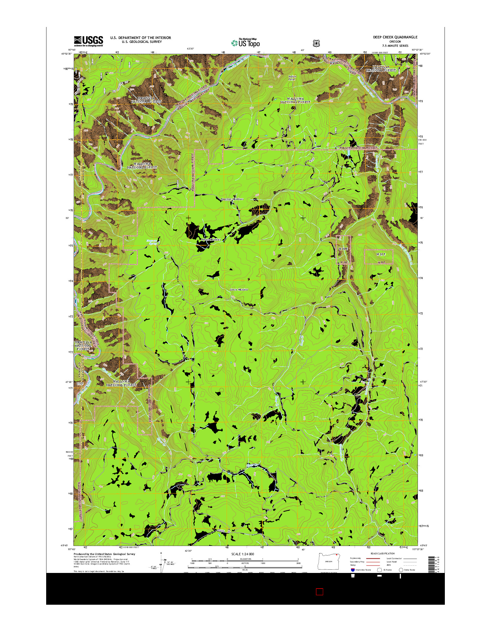 USGS US TOPO 7.5-MINUTE MAP FOR DEEP CREEK, OR 2014