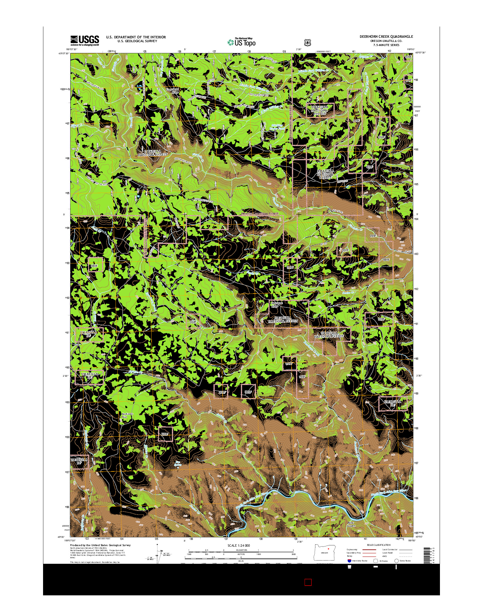 USGS US TOPO 7.5-MINUTE MAP FOR DEERHORN CREEK, OR 2014