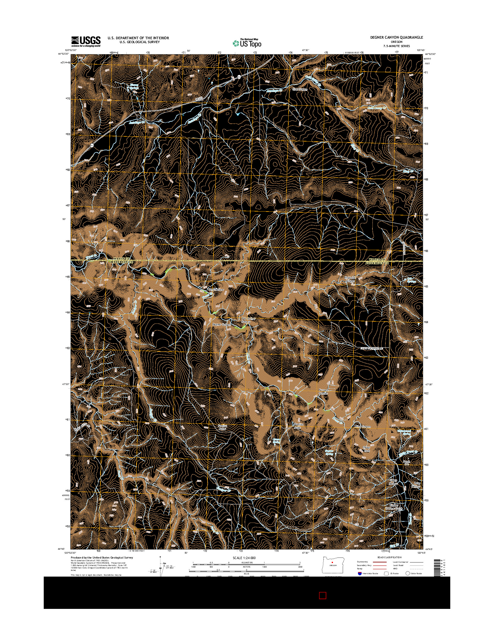 USGS US TOPO 7.5-MINUTE MAP FOR DEGNER CANYON, OR 2014