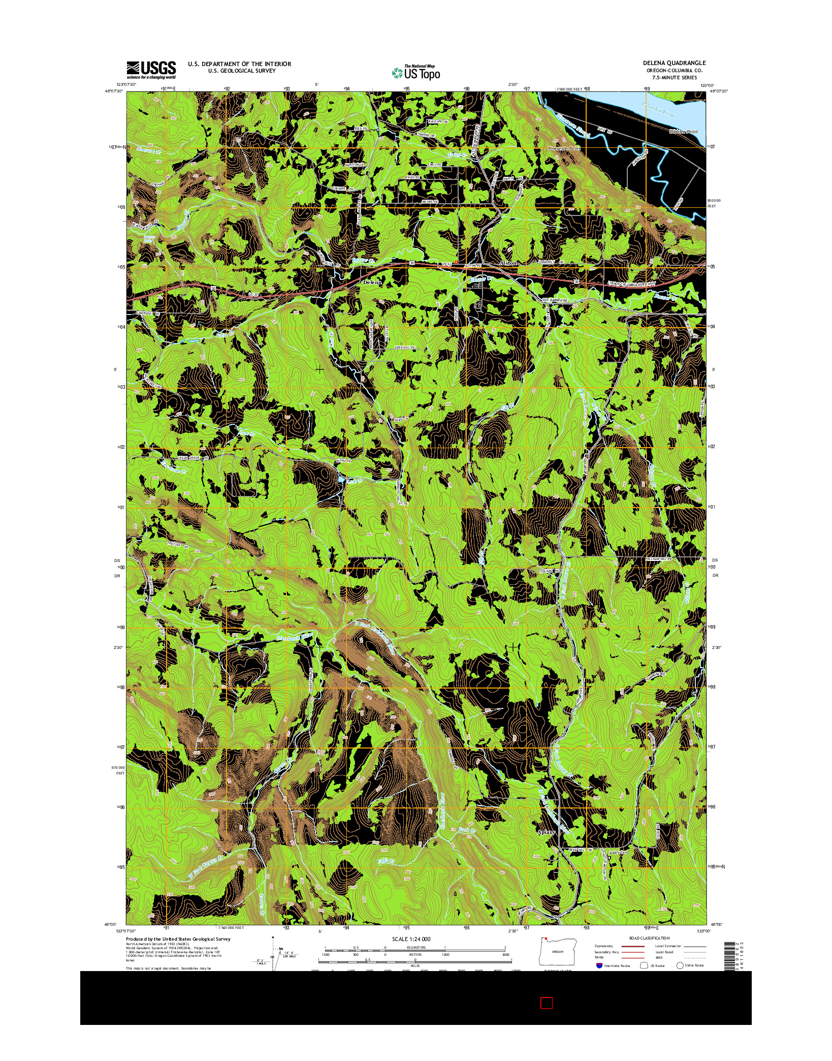 USGS US TOPO 7.5-MINUTE MAP FOR DELENA, OR 2014