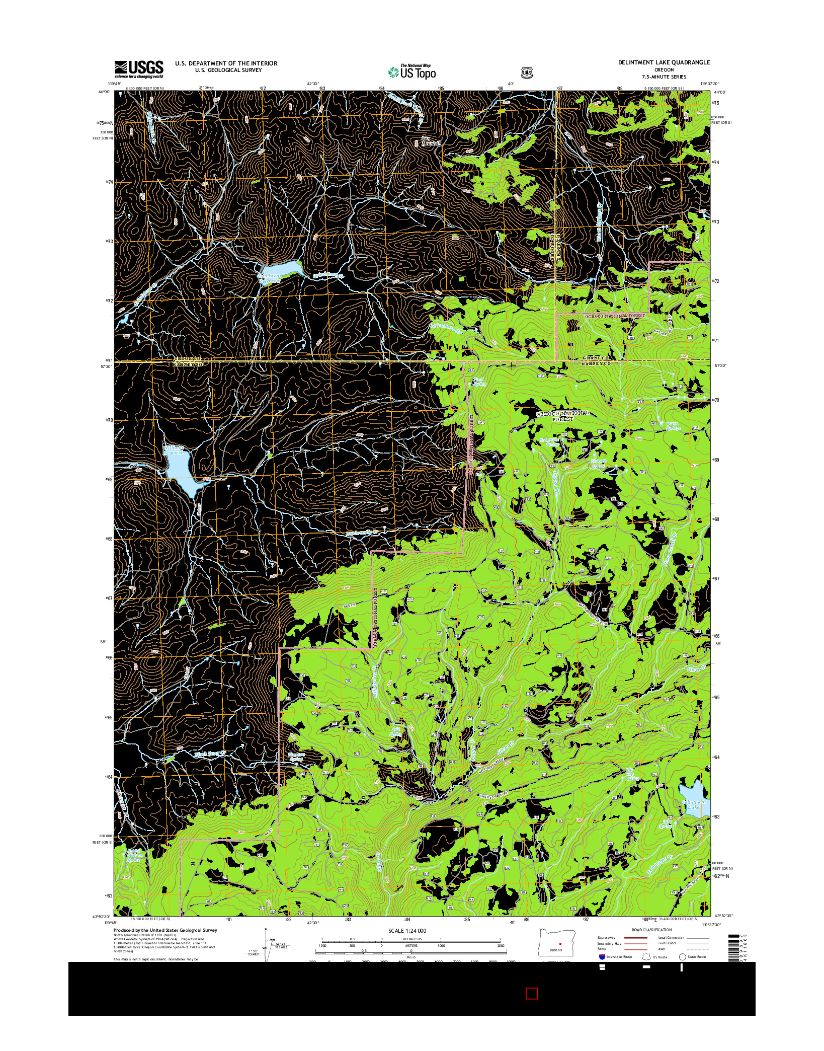 USGS US TOPO 7.5-MINUTE MAP FOR DELINTMENT LAKE, OR 2014