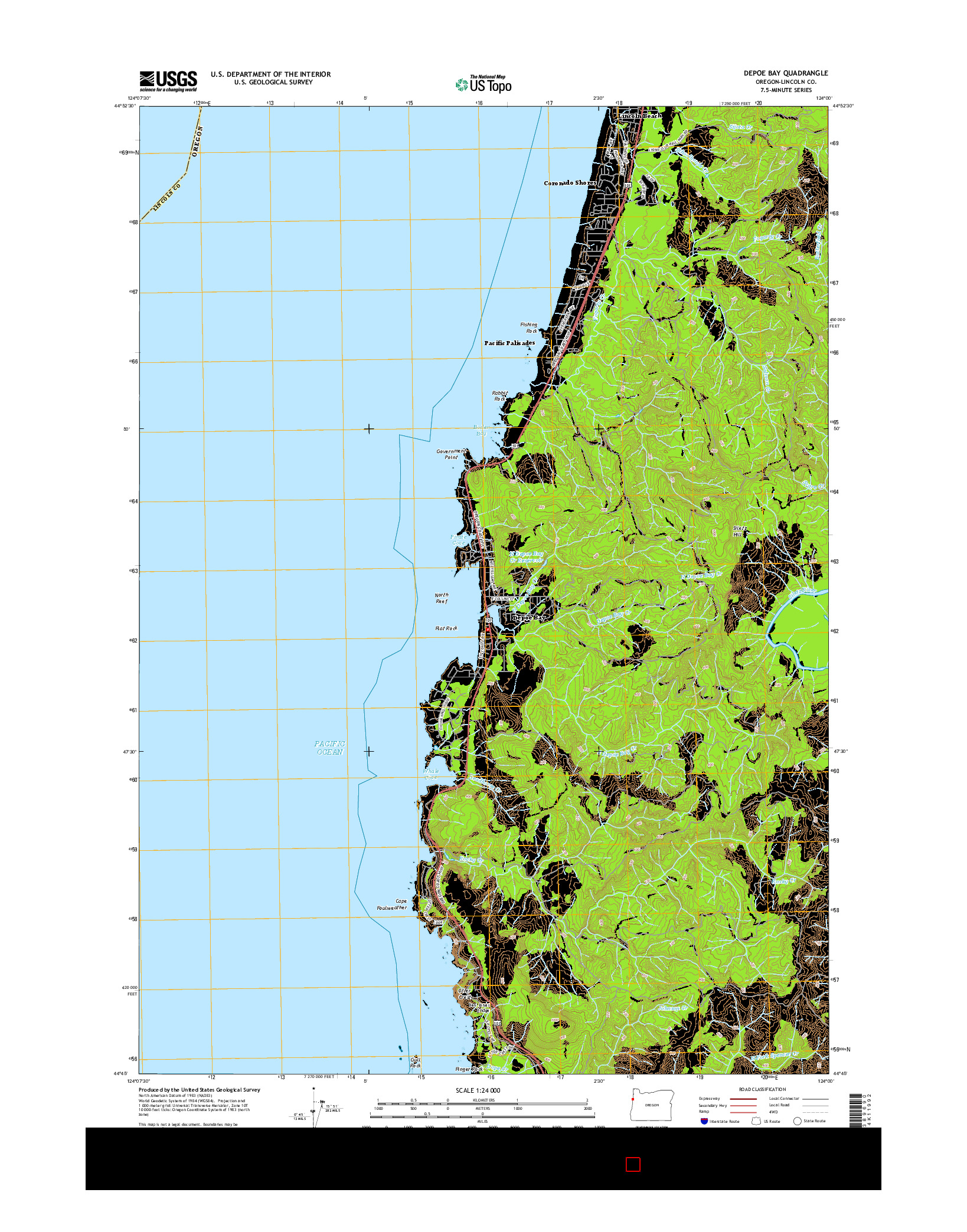USGS US TOPO 7.5-MINUTE MAP FOR DEPOE BAY, OR 2014