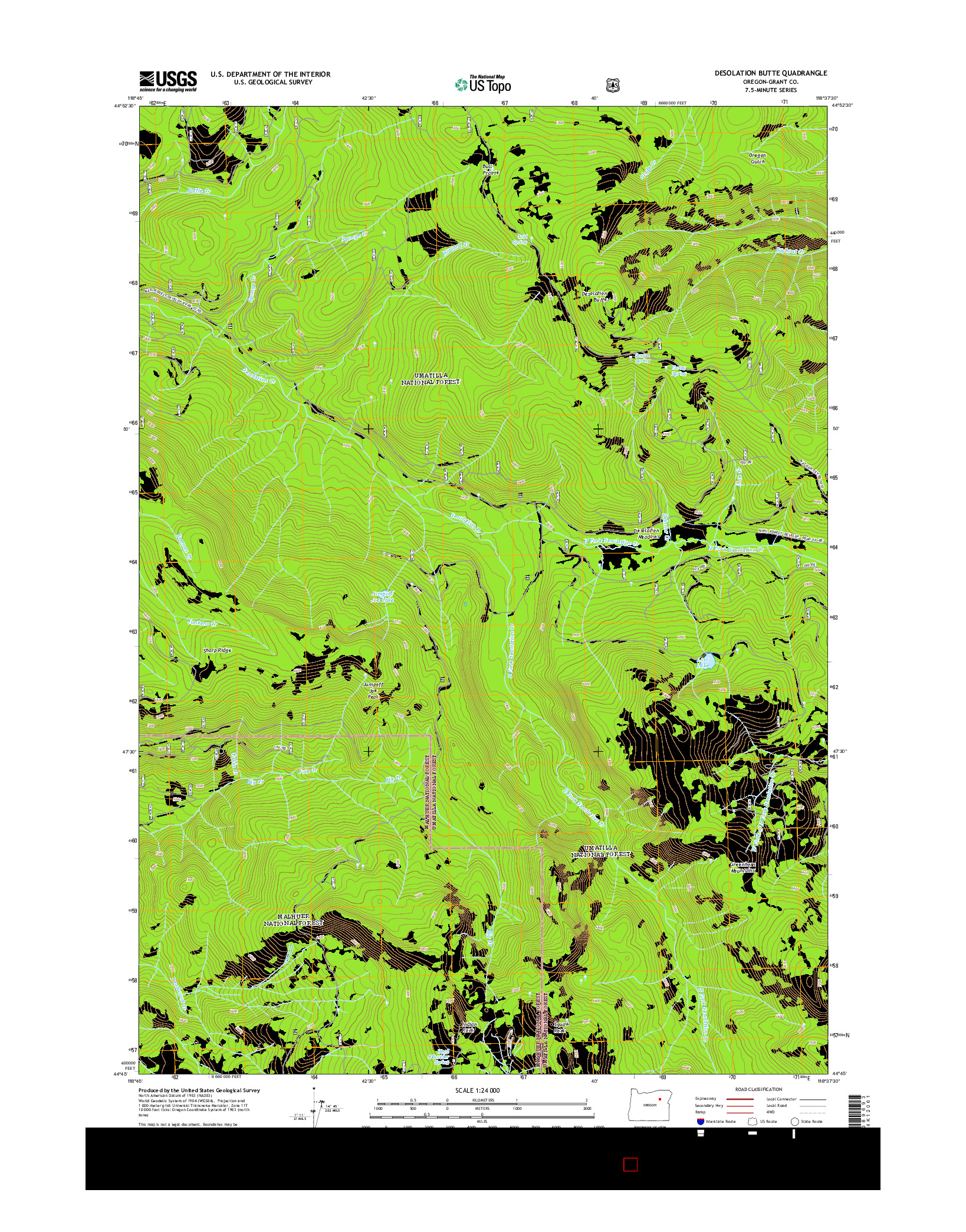 USGS US TOPO 7.5-MINUTE MAP FOR DESOLATION BUTTE, OR 2014