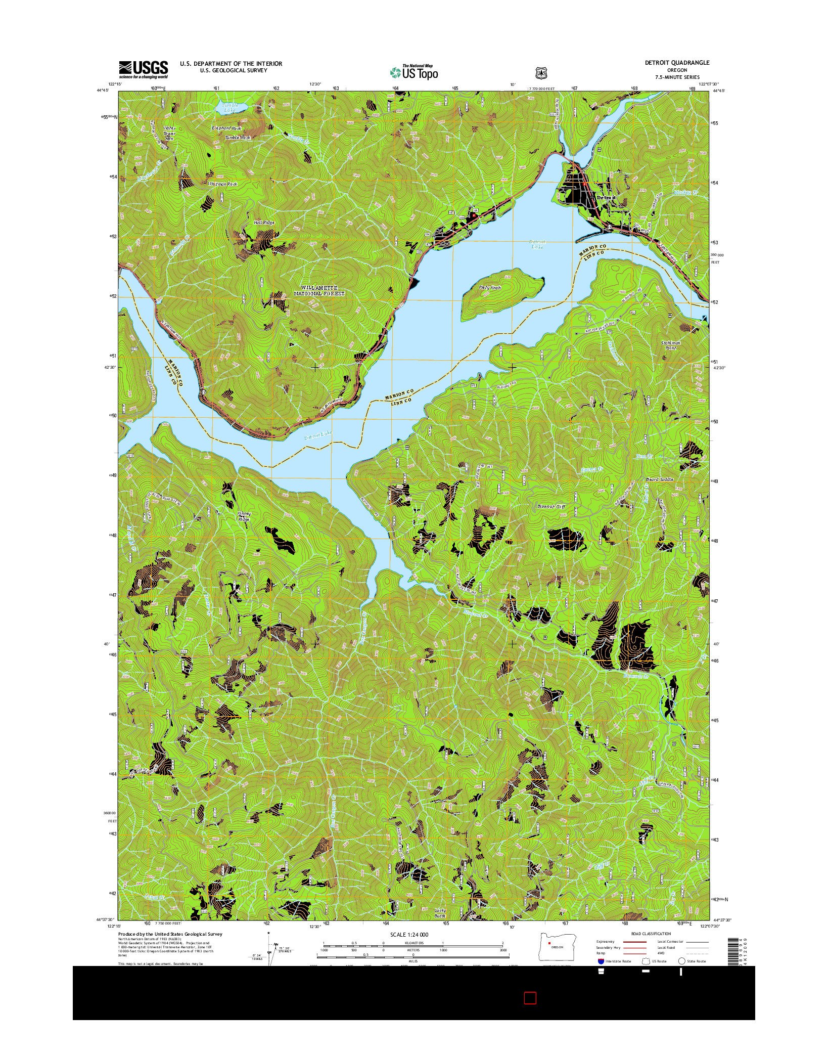 USGS US TOPO 7.5-MINUTE MAP FOR DETROIT, OR 2014