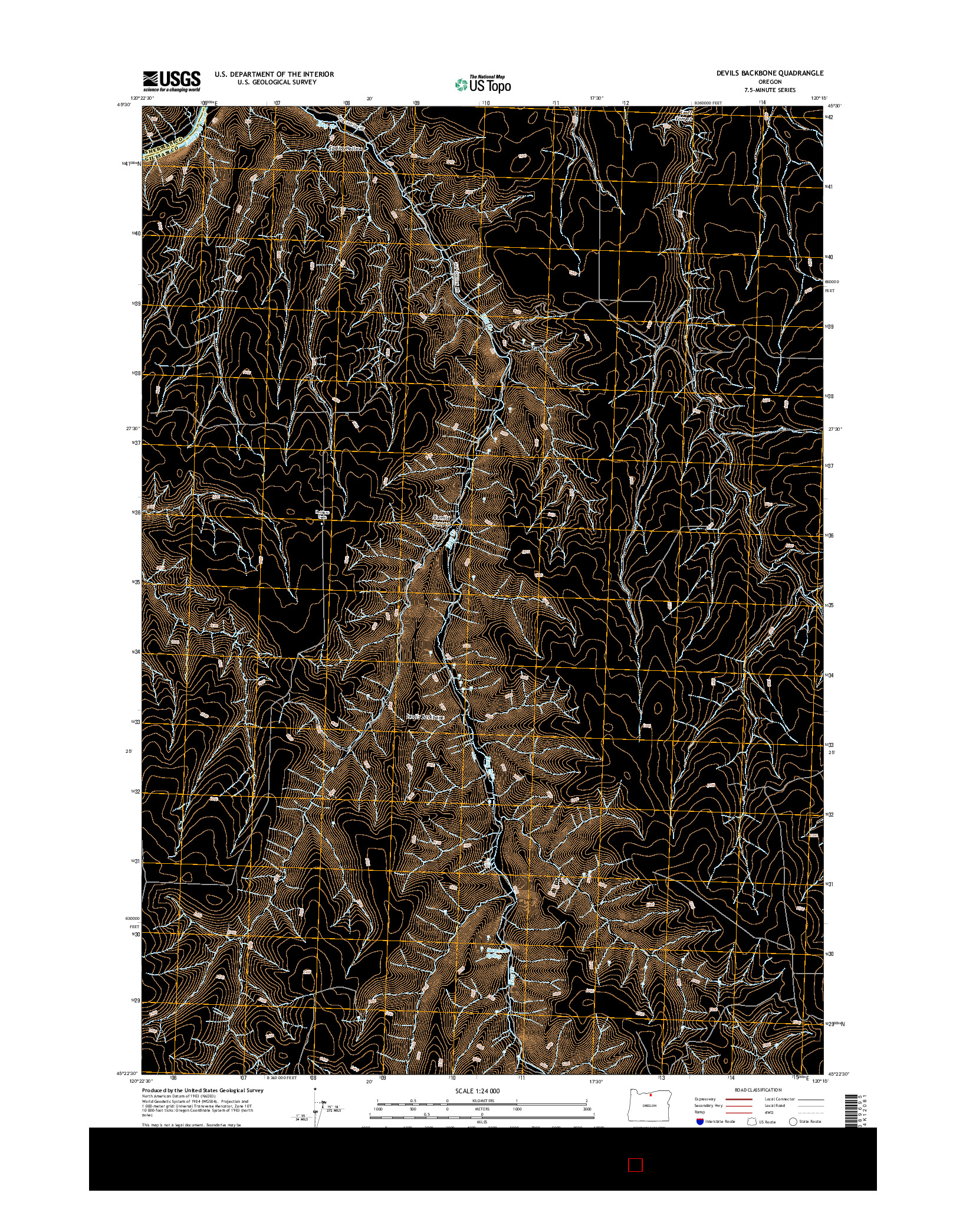 USGS US TOPO 7.5-MINUTE MAP FOR DEVILS BACKBONE, OR 2014