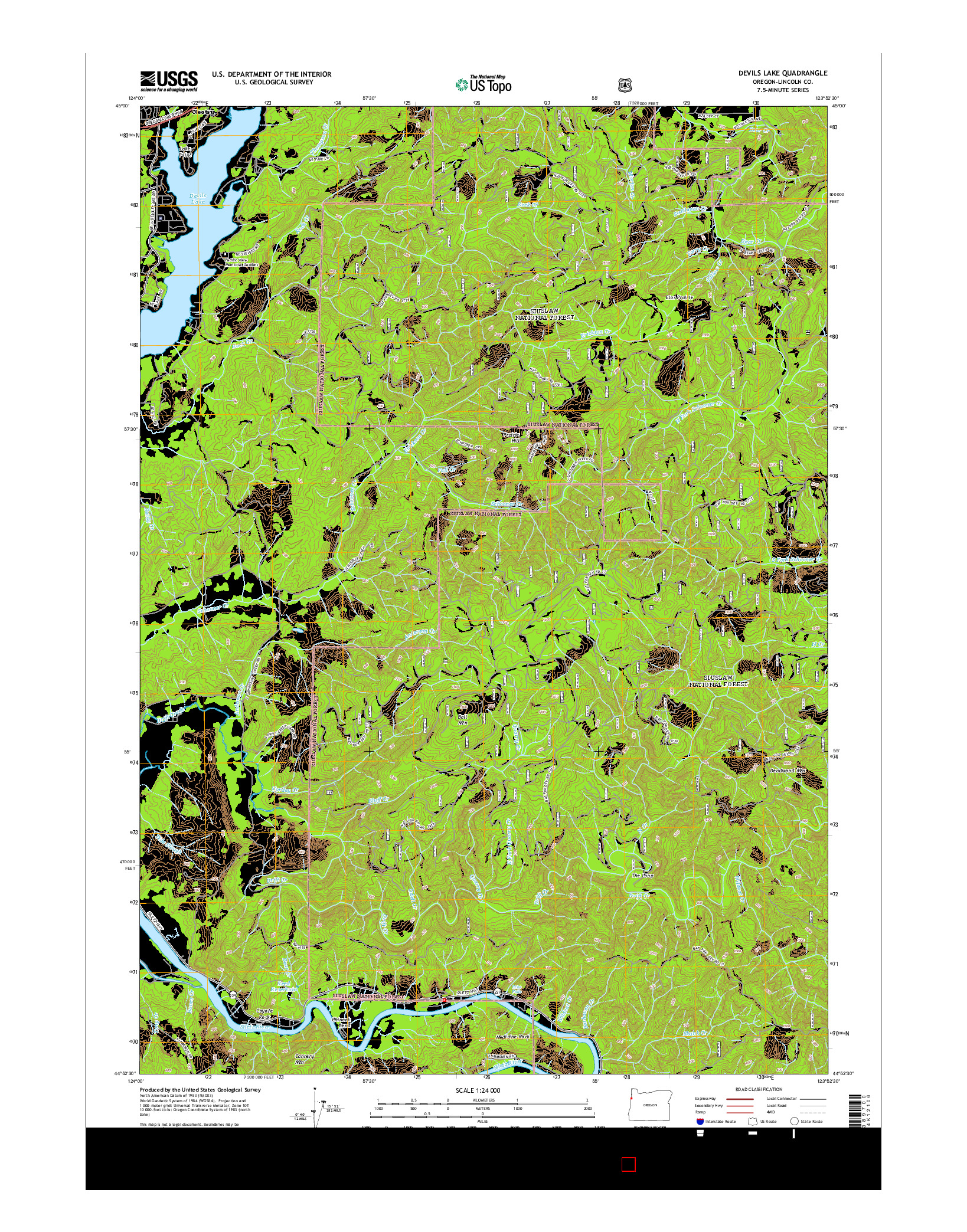 USGS US TOPO 7.5-MINUTE MAP FOR DEVILS LAKE, OR 2014