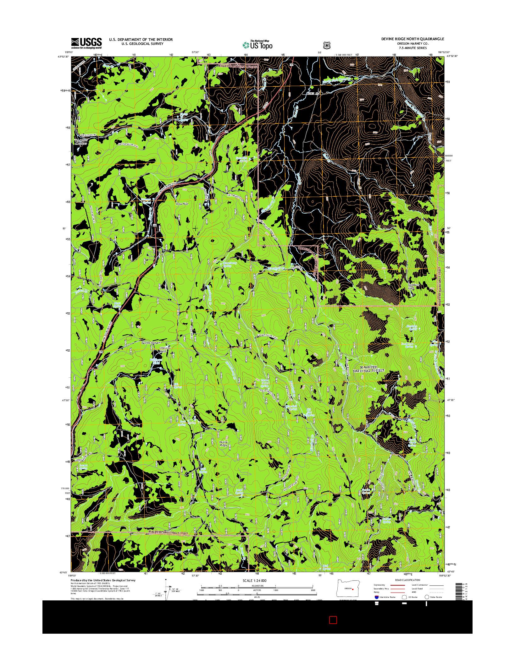USGS US TOPO 7.5-MINUTE MAP FOR DEVINE RIDGE NORTH, OR 2014