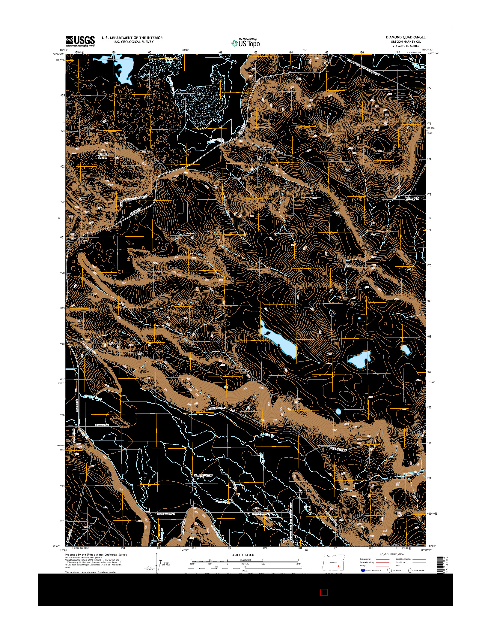 USGS US TOPO 7.5-MINUTE MAP FOR DIAMOND, OR 2014