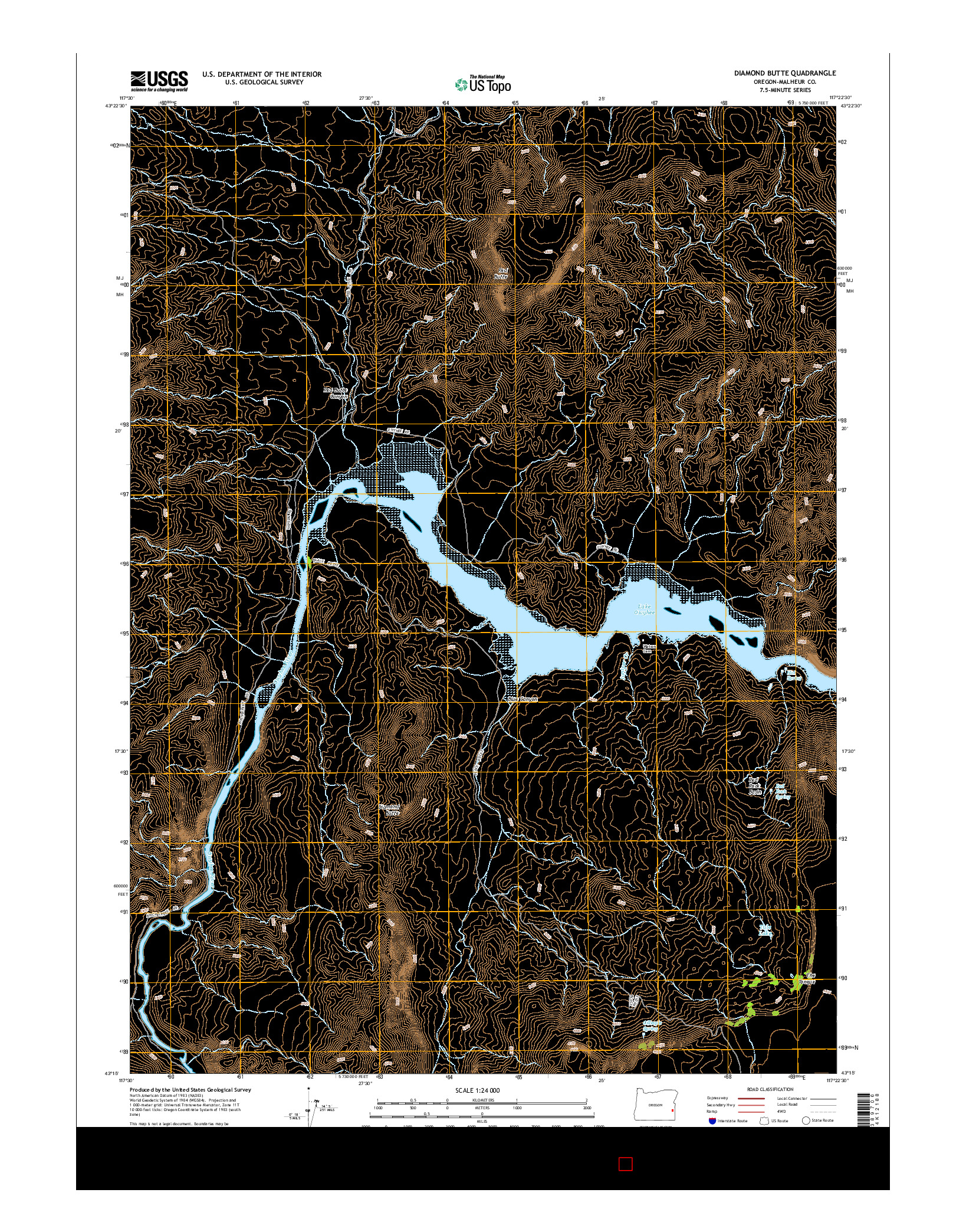USGS US TOPO 7.5-MINUTE MAP FOR DIAMOND BUTTE, OR 2014