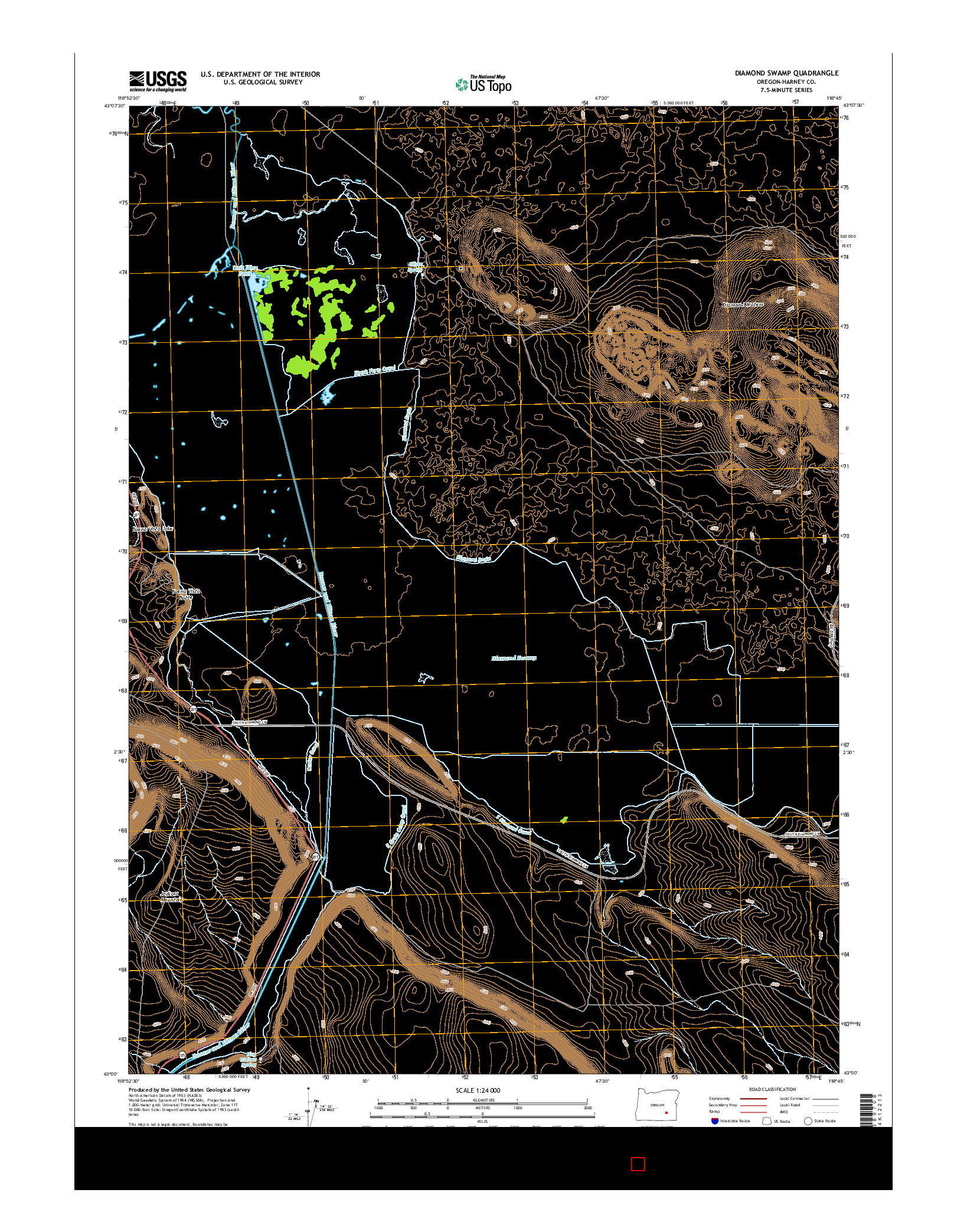 USGS US TOPO 7.5-MINUTE MAP FOR DIAMOND SWAMP, OR 2014