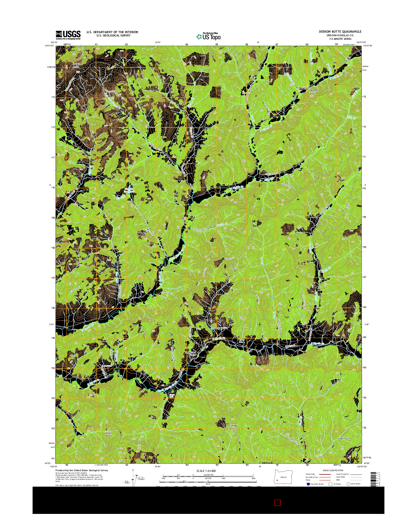 USGS US TOPO 7.5-MINUTE MAP FOR DODSON BUTTE, OR 2014