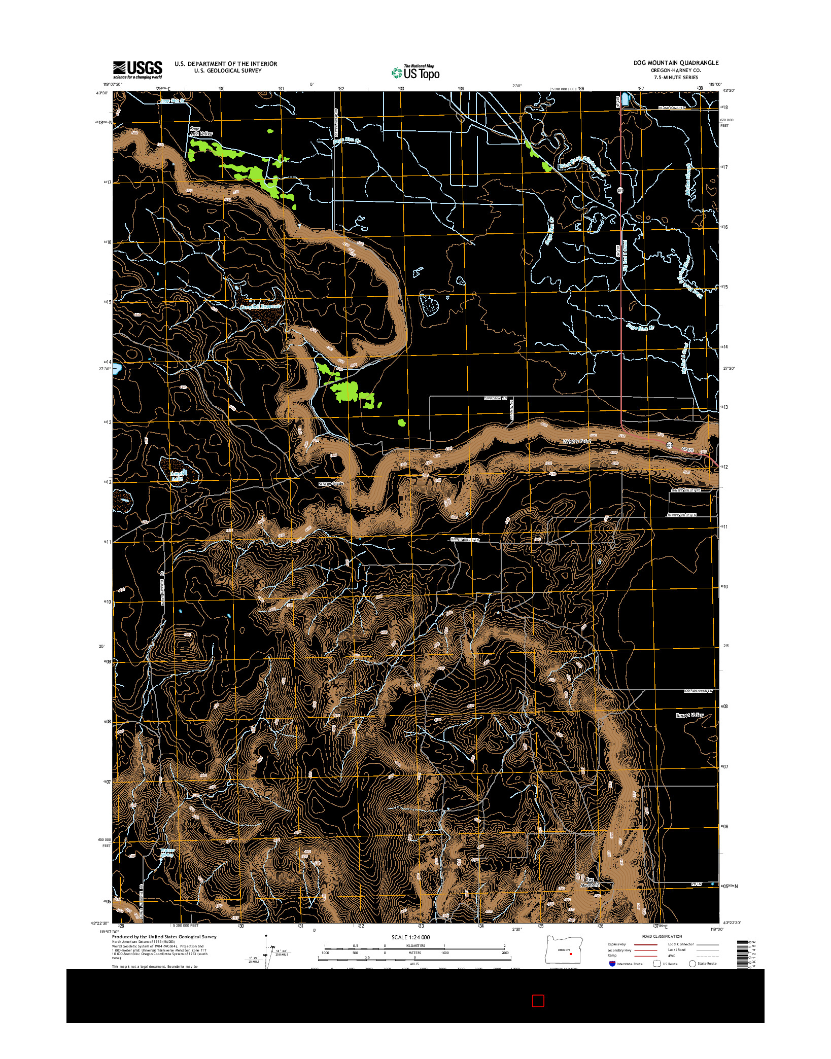 USGS US TOPO 7.5-MINUTE MAP FOR DOG MOUNTAIN, OR 2014