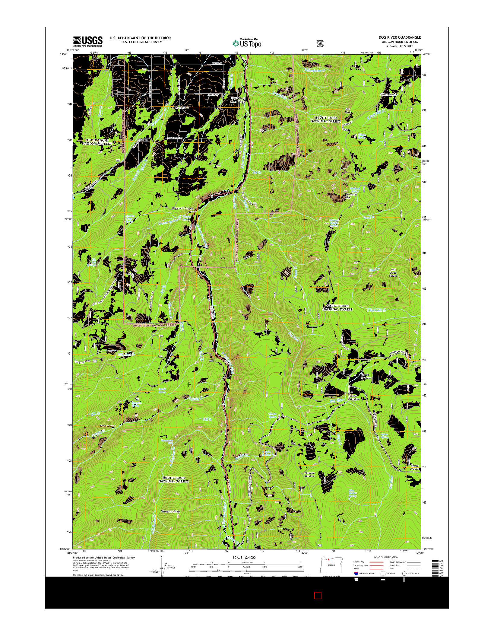 USGS US TOPO 7.5-MINUTE MAP FOR DOG RIVER, OR 2014
