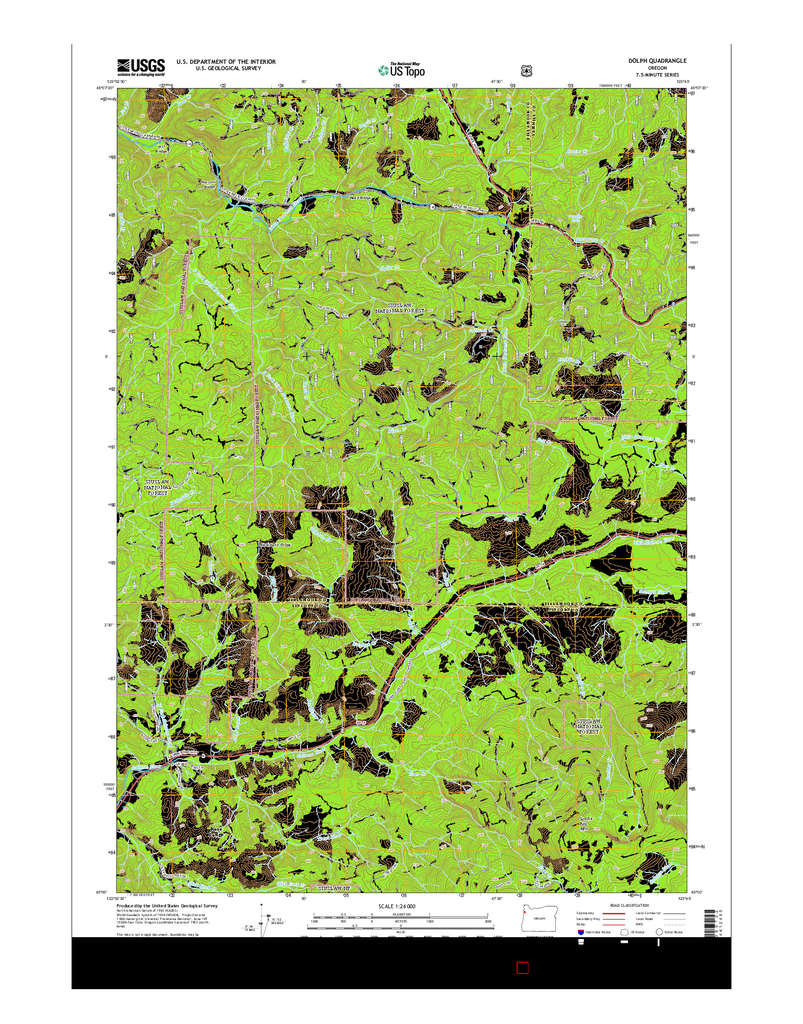 USGS US TOPO 7.5-MINUTE MAP FOR DOLPH, OR 2014