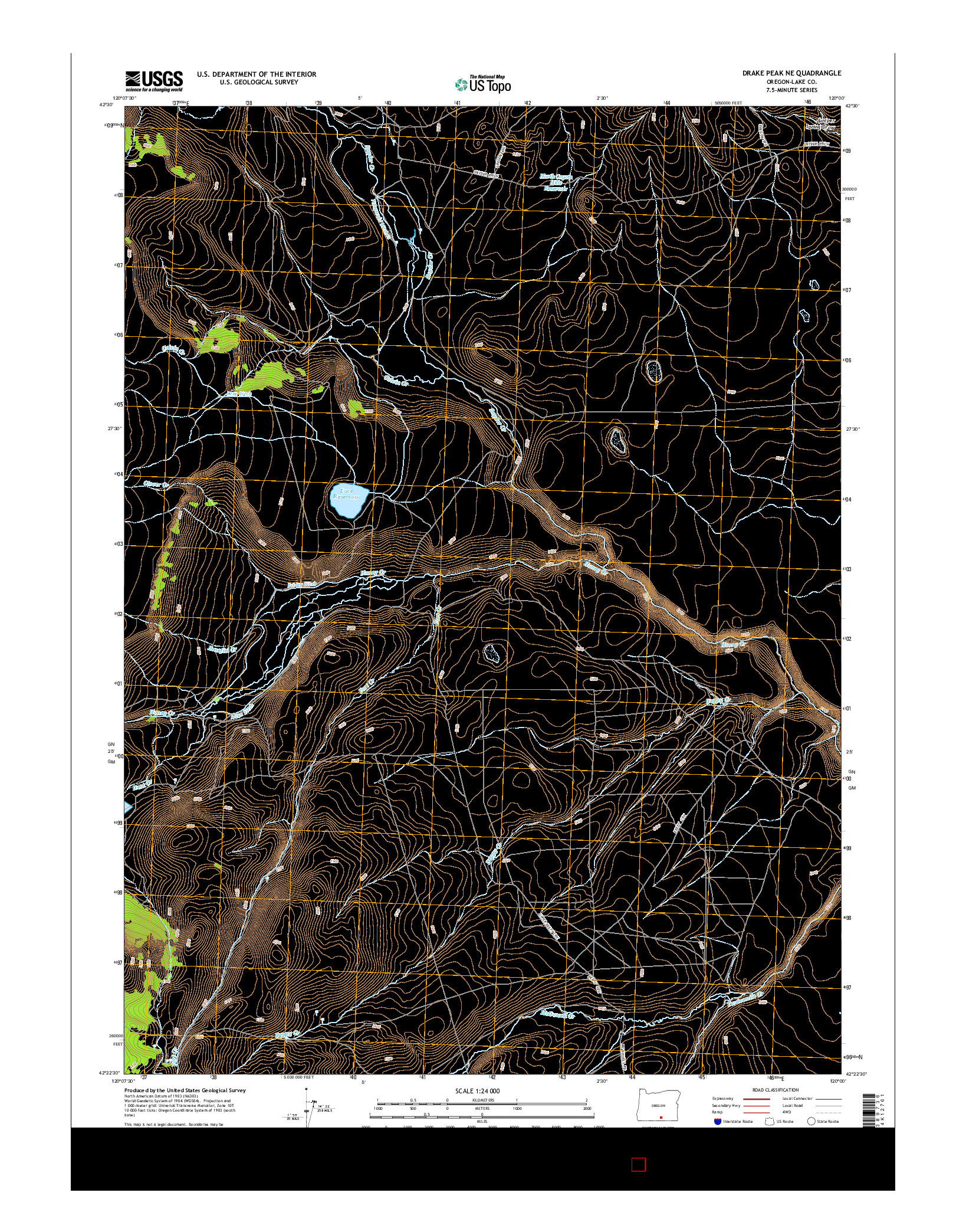 USGS US TOPO 7.5-MINUTE MAP FOR DRAKE PEAK NE, OR 2014