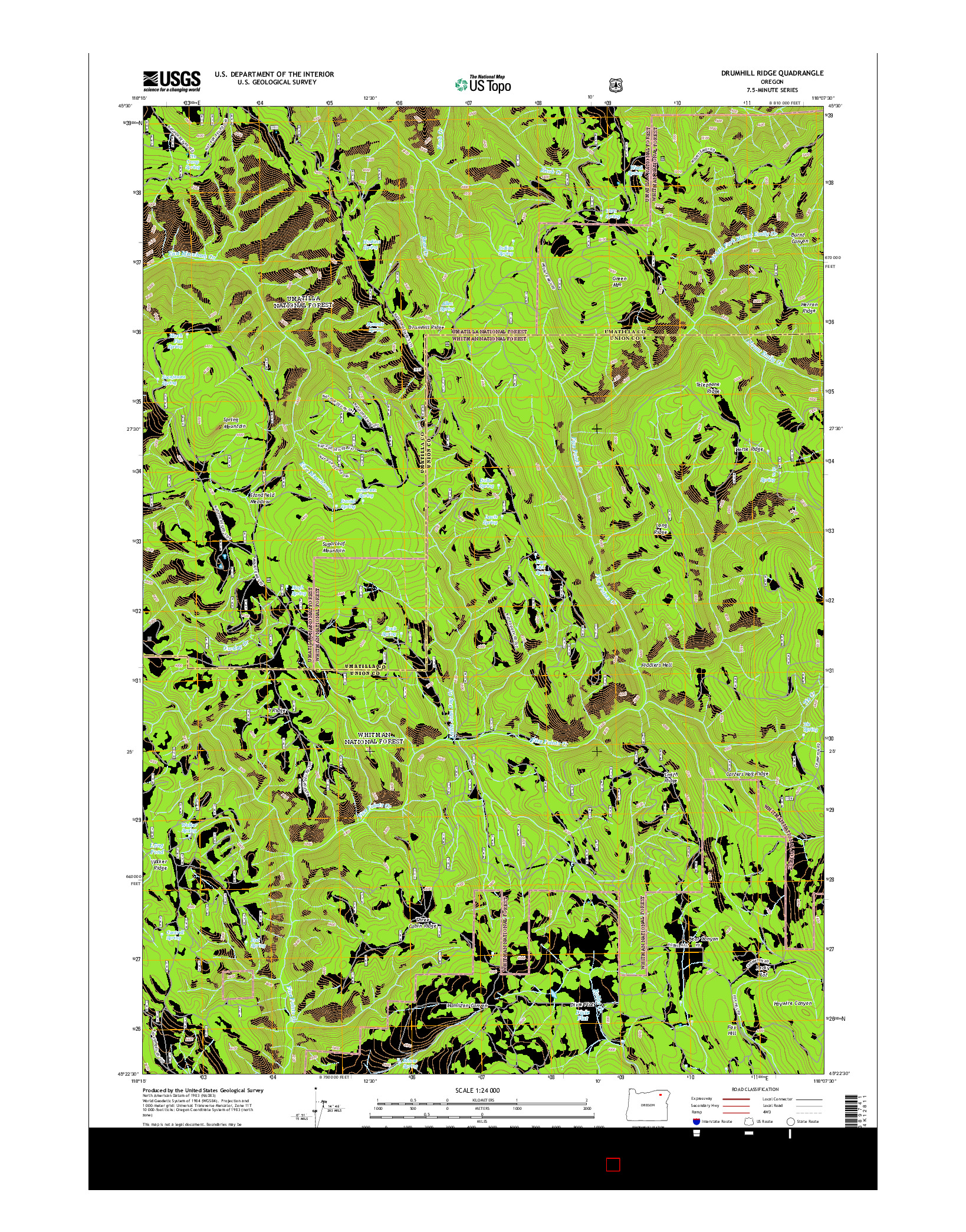 USGS US TOPO 7.5-MINUTE MAP FOR DRUMHILL RIDGE, OR 2014