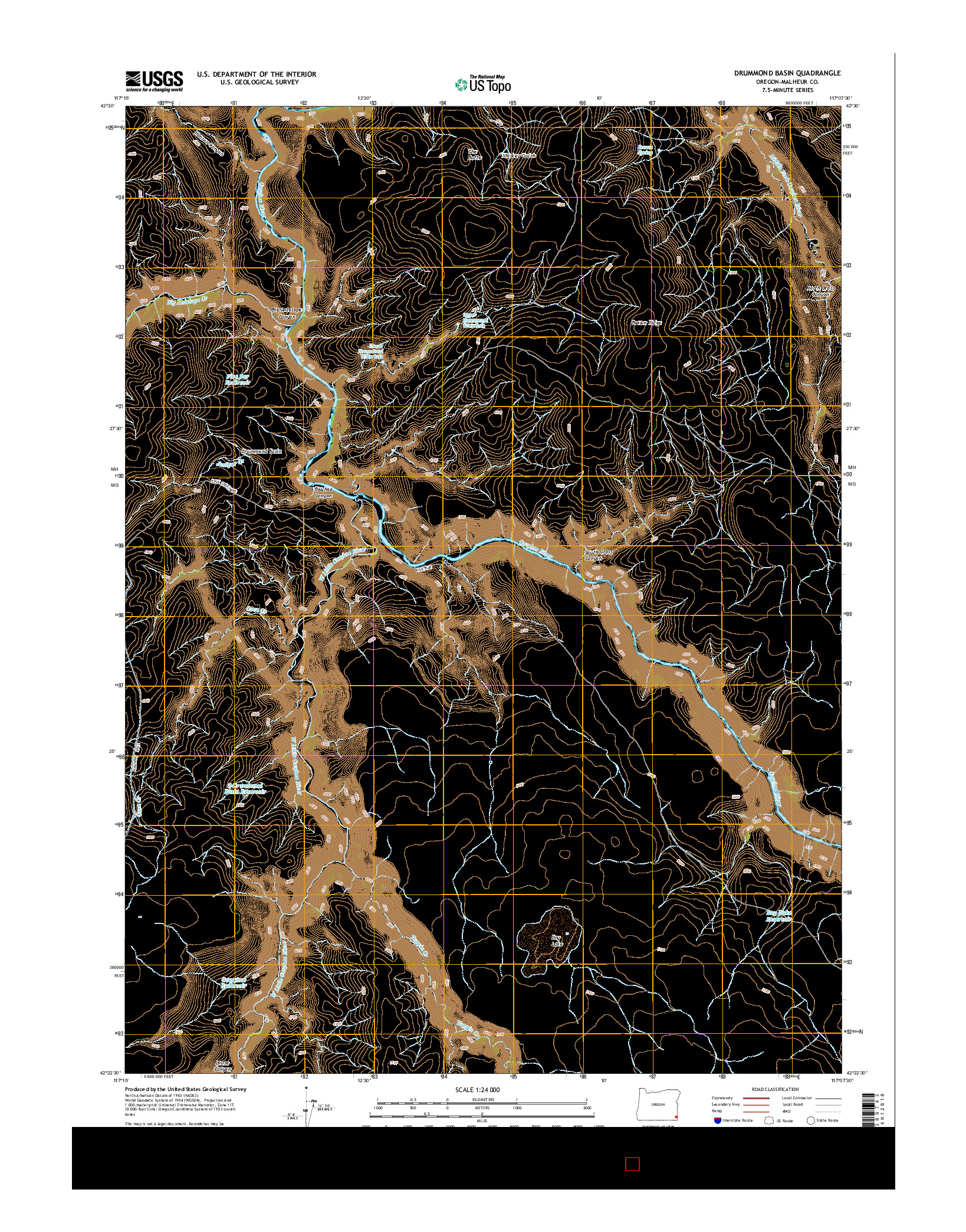 USGS US TOPO 7.5-MINUTE MAP FOR DRUMMOND BASIN, OR 2014