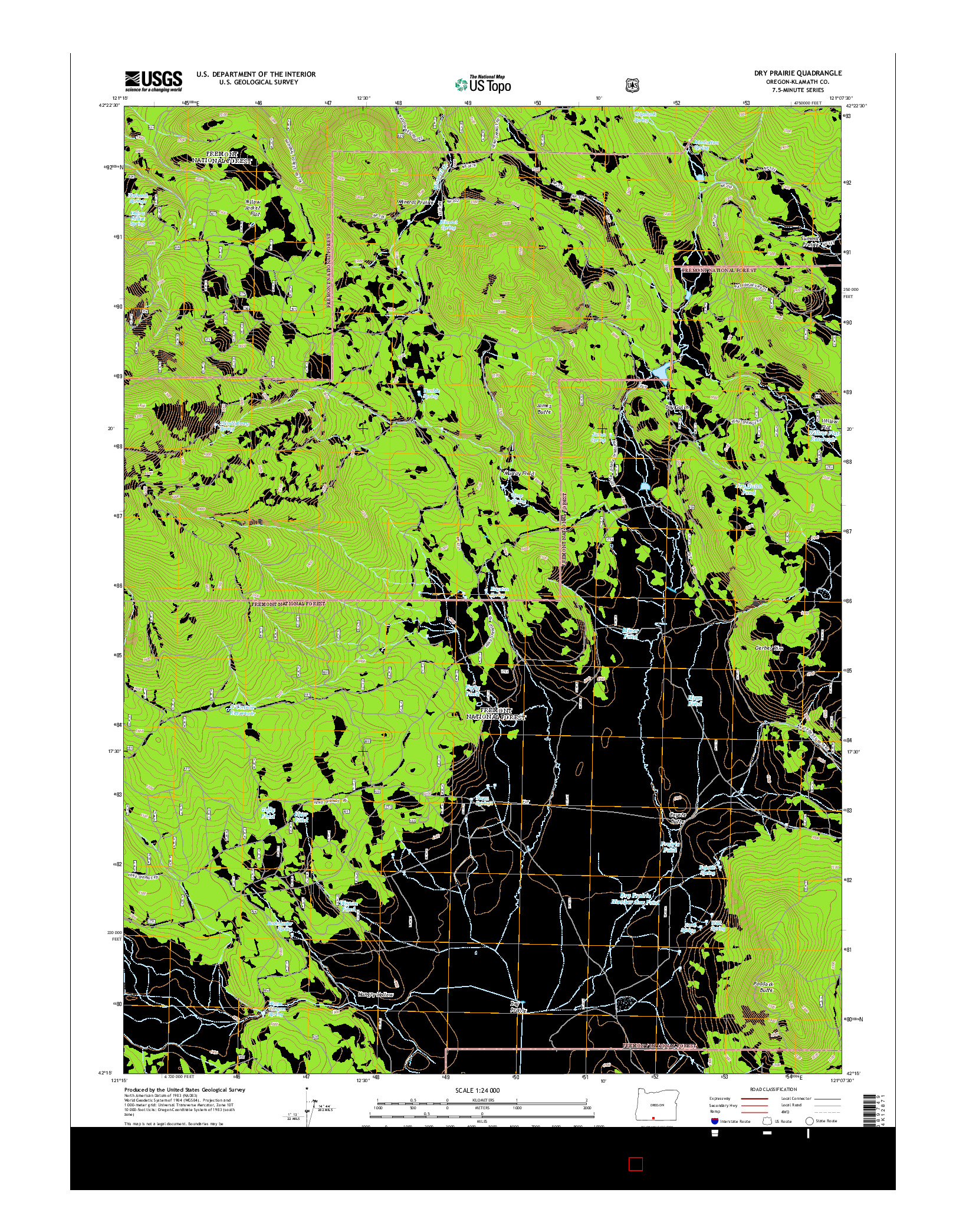 USGS US TOPO 7.5-MINUTE MAP FOR DRY PRAIRIE, OR 2014